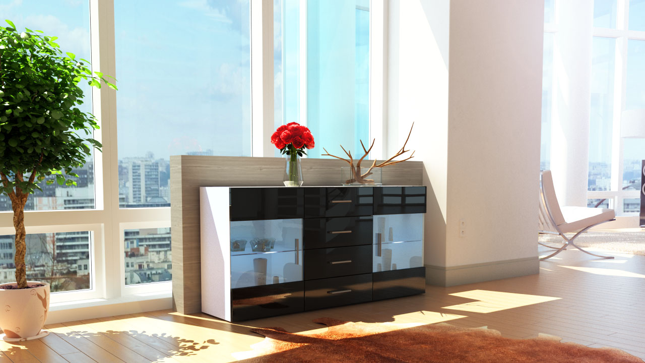 sideboard kommode tv board vitrine anrichte bari wei in. Black Bedroom Furniture Sets. Home Design Ideas