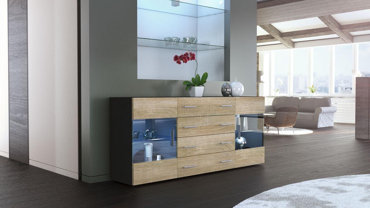 sideboard chest of drawers cabinet bari v2 black high. Black Bedroom Furniture Sets. Home Design Ideas