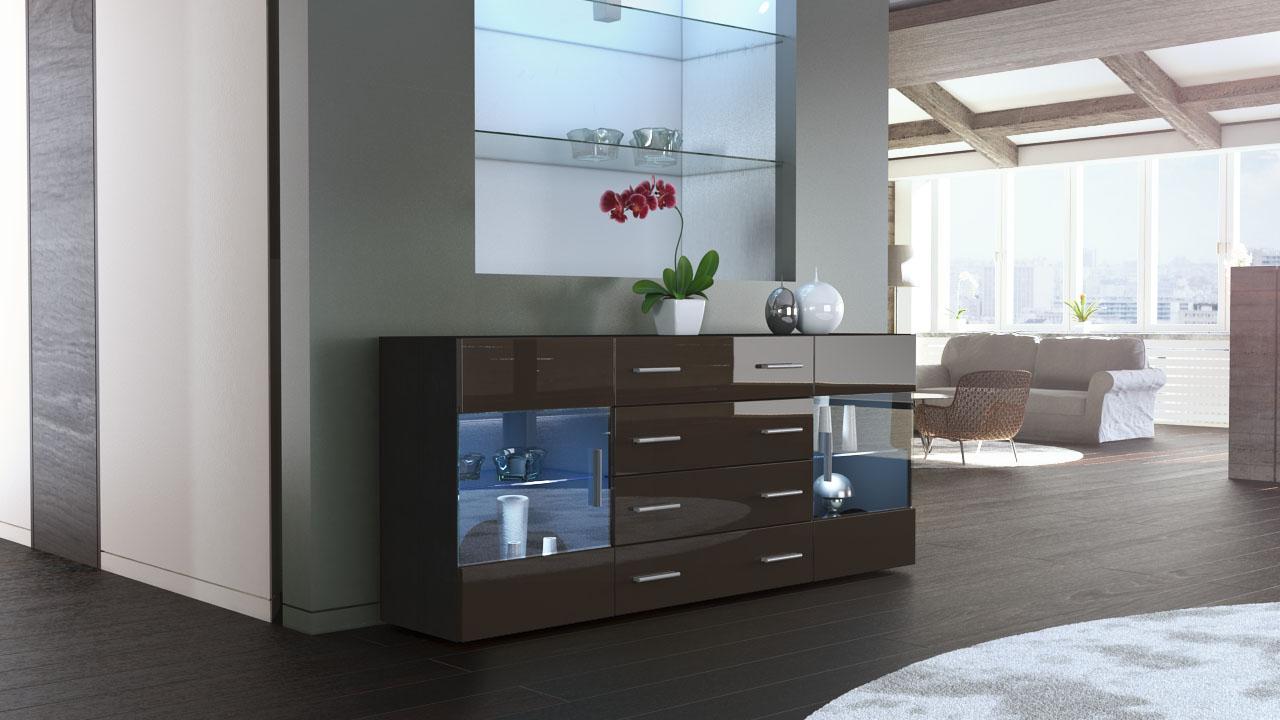 sideboard kommode tv board anrichte bari v2 schwarz in hochglanz naturt ne ebay. Black Bedroom Furniture Sets. Home Design Ideas