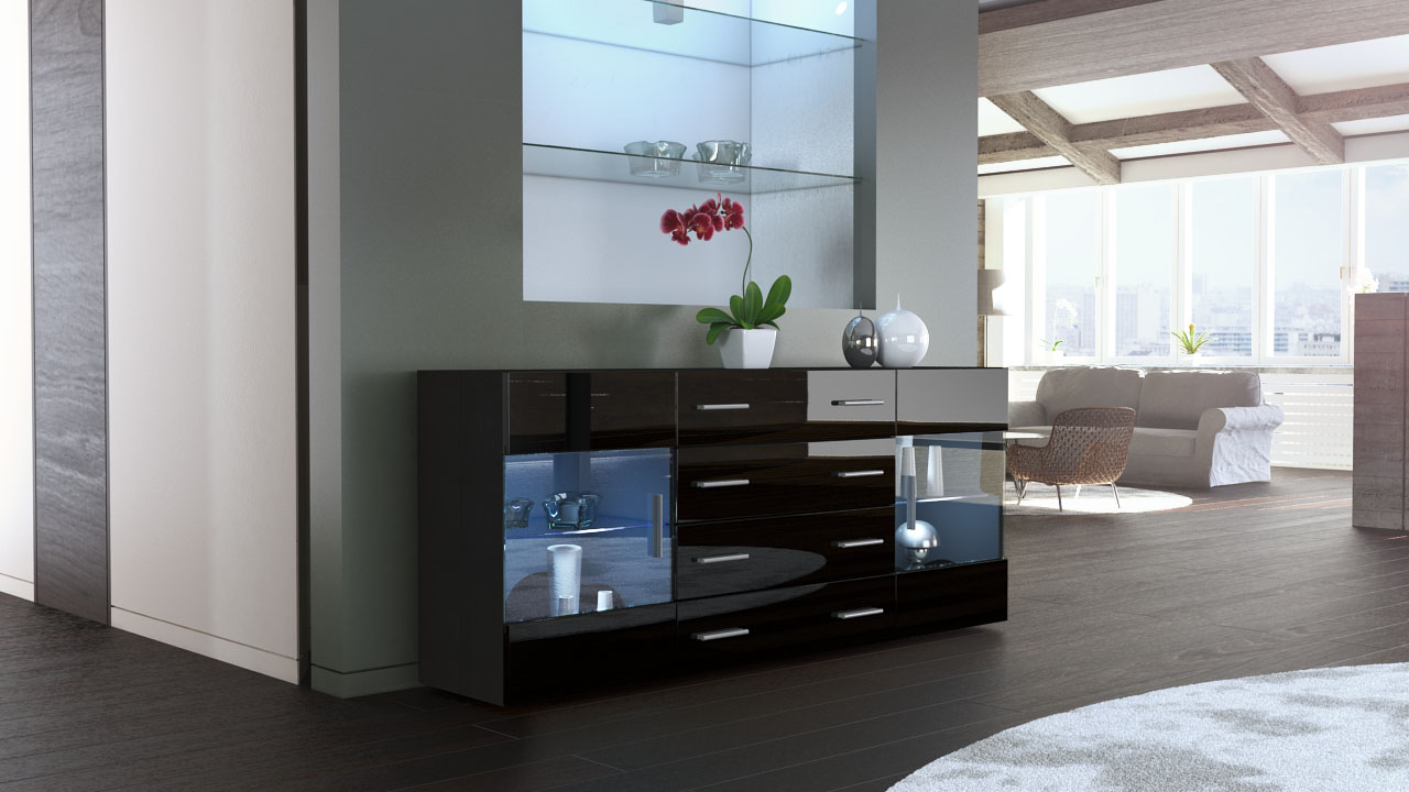sideboard kommode tv board anrichte bari v2 schwarz in. Black Bedroom Furniture Sets. Home Design Ideas