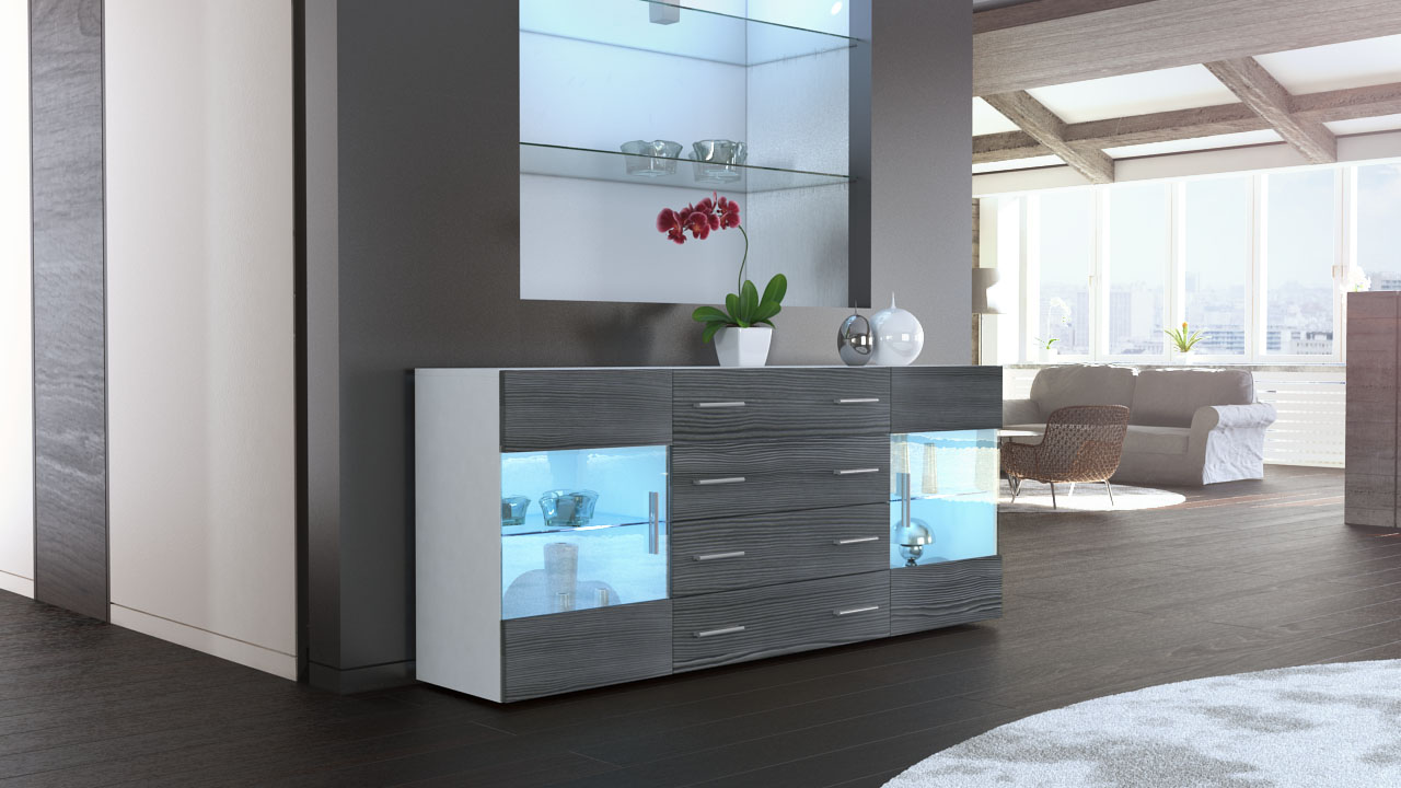sideboard kommode tv board vitrine anrichte bari v2 wei hochglanz naturt ne. Black Bedroom Furniture Sets. Home Design Ideas