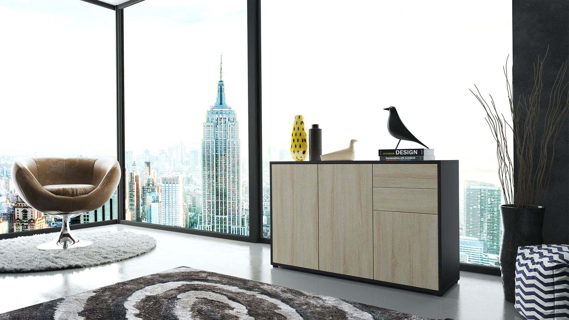 Cabinet Chest Of Drawers Ben Carcass In Black Matt Front In White High Gloss