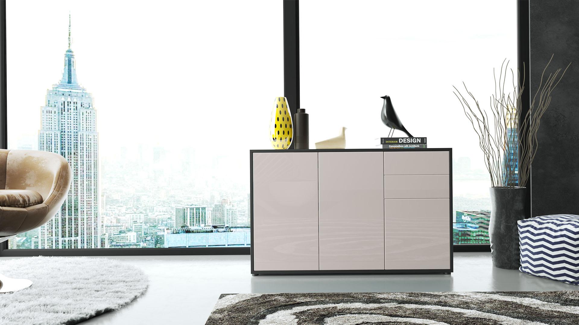 kommode sideboard anrichte schrank ben v3 in schwarz. Black Bedroom Furniture Sets. Home Design Ideas