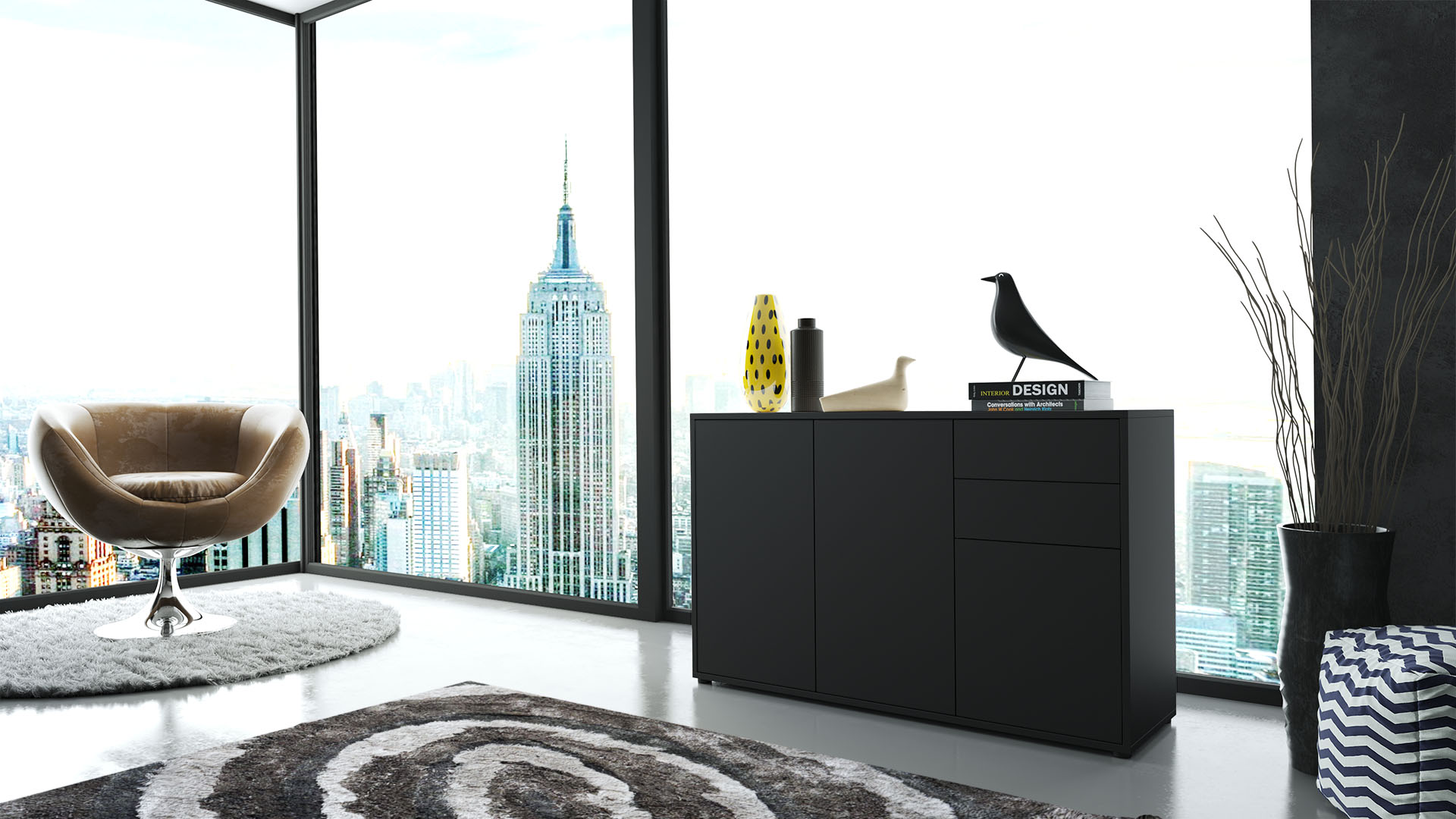 kommode sideboard anrichte schrank ben v3 in schwarz. Black Bedroom Furniture Sets. Home Design Ideas