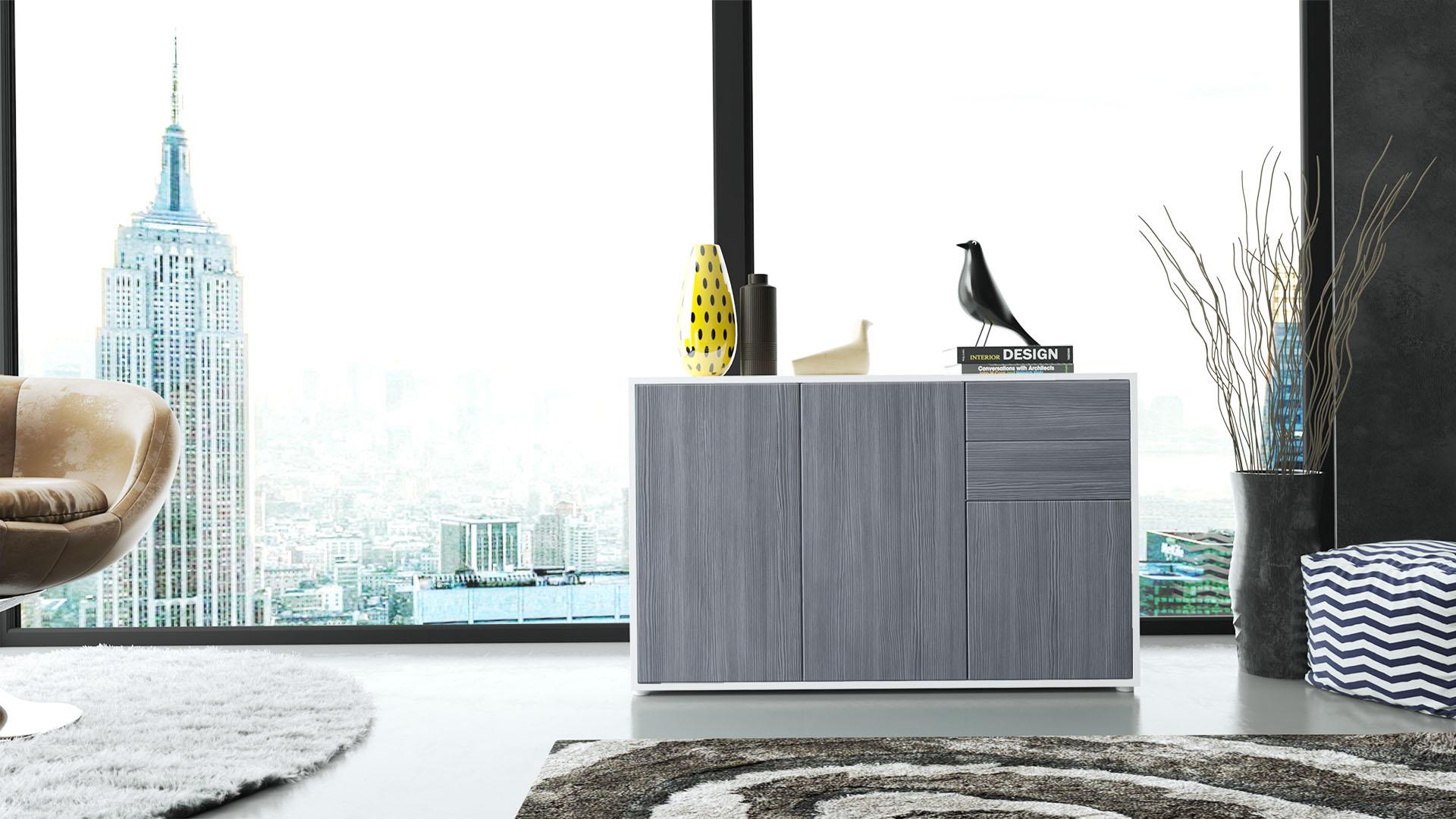 kommode sideboard anrichte schrank ben v3 in wei hochglanz und naturt ne ebay. Black Bedroom Furniture Sets. Home Design Ideas