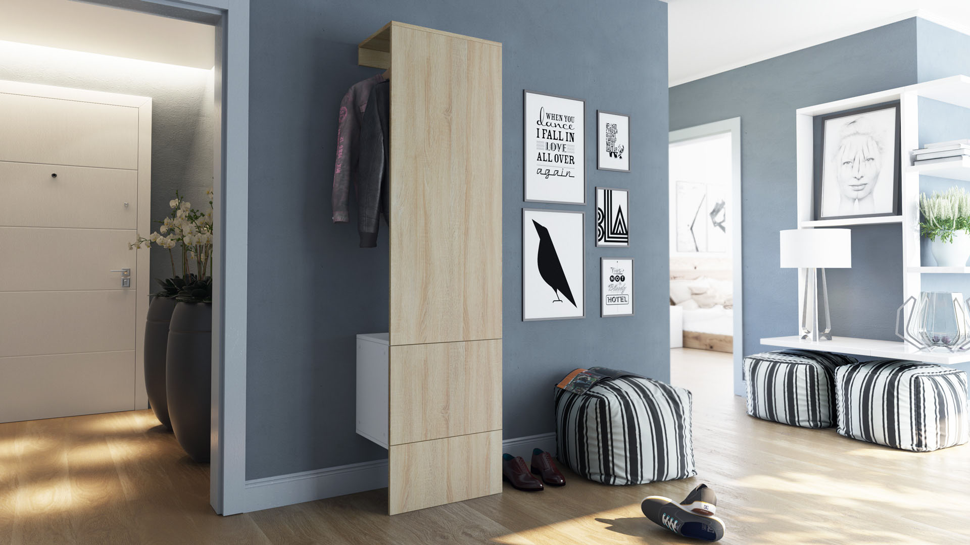garderobenset flur garderobe diele carlton set 5 in wei hochglanz naturt ne ebay. Black Bedroom Furniture Sets. Home Design Ideas