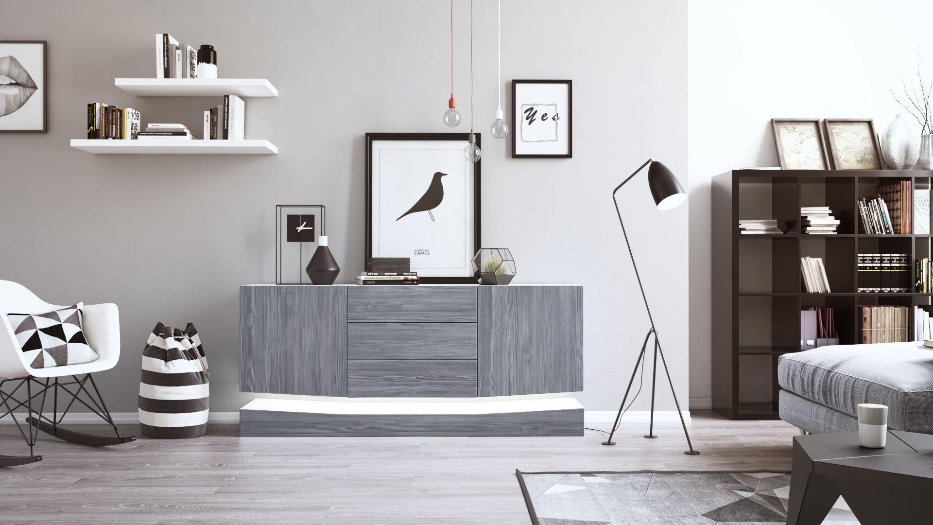 sideboard tv board anrichte kommode city in wei hochglanz naturt ne ebay. Black Bedroom Furniture Sets. Home Design Ideas