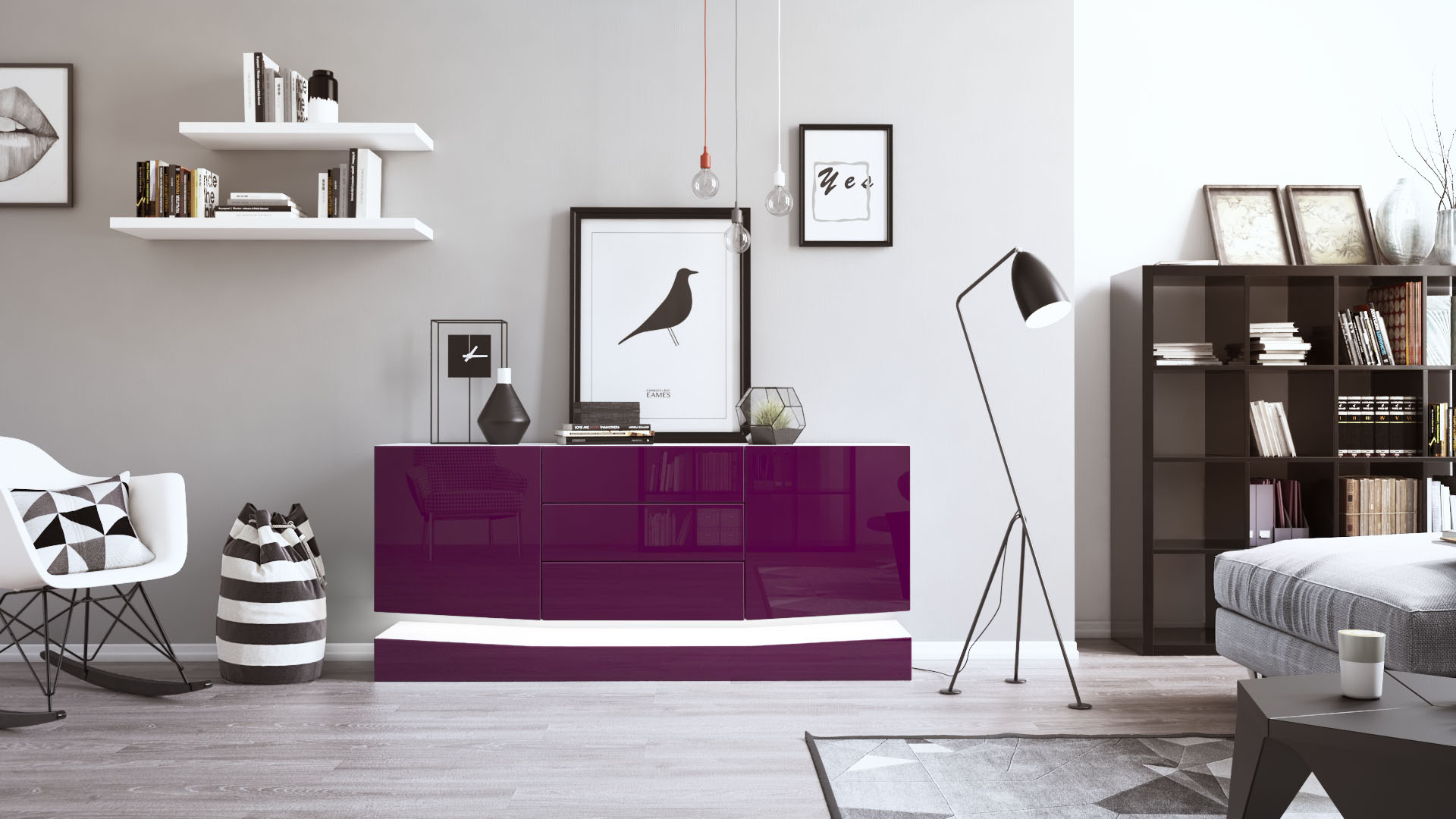sideboard tv board anrichte kommode city in wei. Black Bedroom Furniture Sets. Home Design Ideas