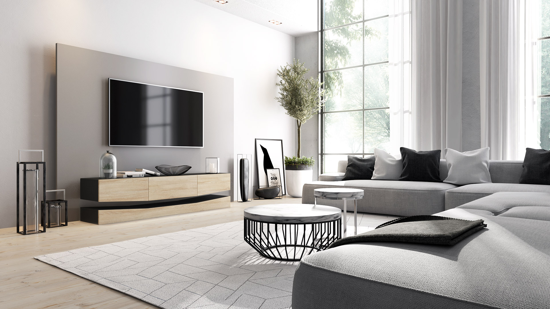 tv lowboard board schrank tisch moebel city schwarz hochglanz amp. Black Bedroom Furniture Sets. Home Design Ideas