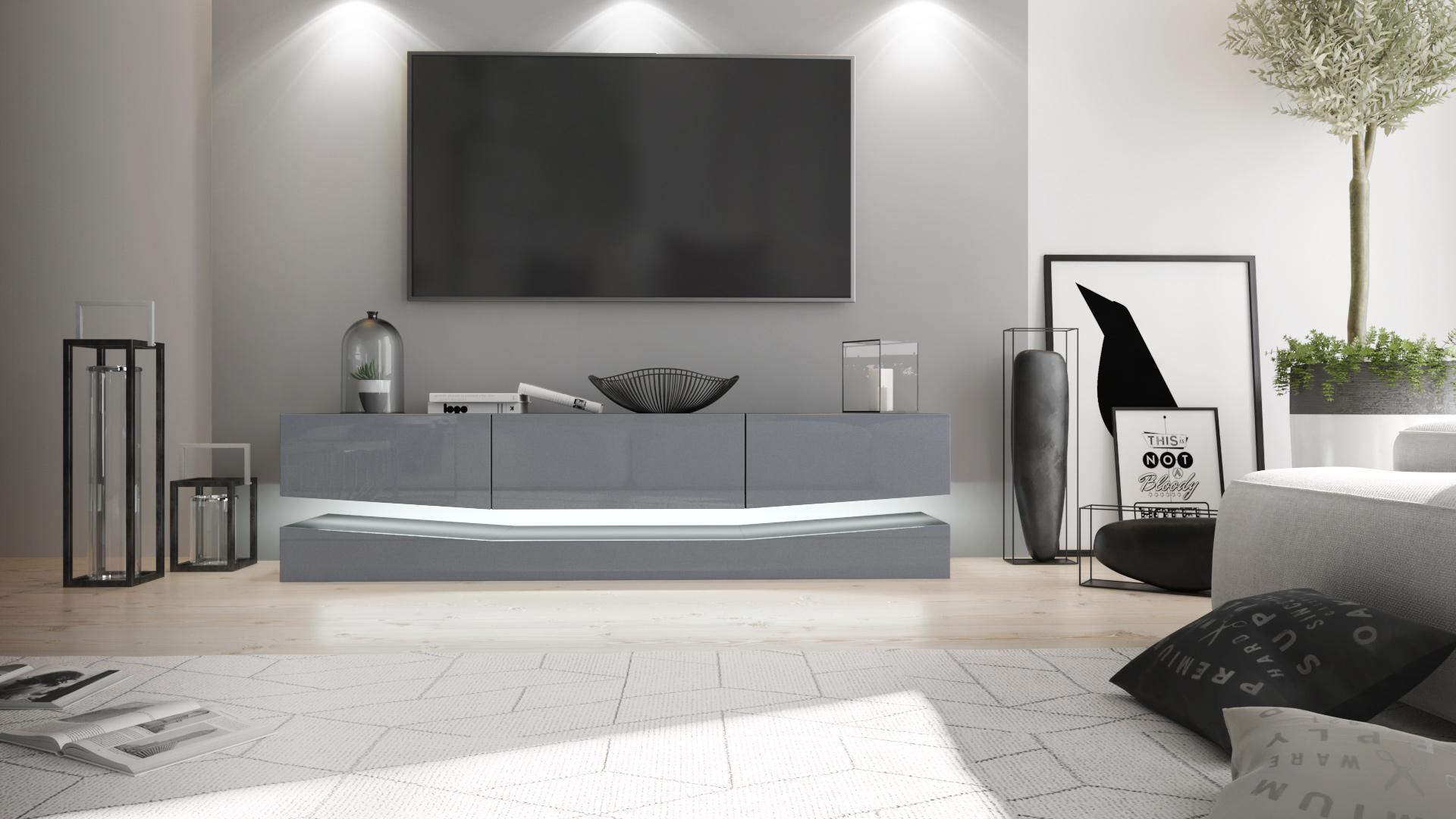 tv unit stand cabinet sideboard city black high gloss. Black Bedroom Furniture Sets. Home Design Ideas