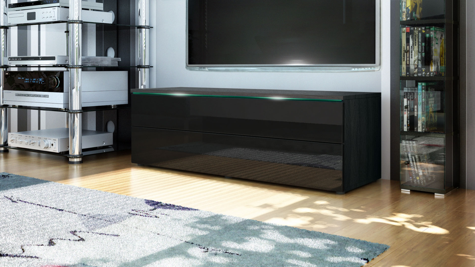 abverkauf tv lowboard board schrank evora in schwarz matt. Black Bedroom Furniture Sets. Home Design Ideas