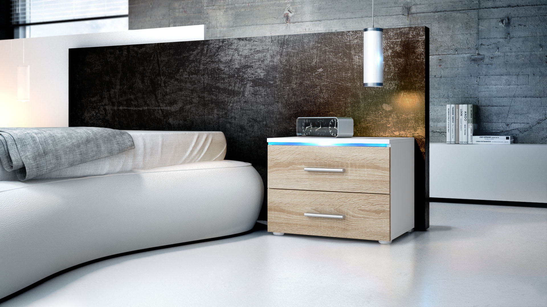 bedside cabinet chest of drawers led faro white high. Black Bedroom Furniture Sets. Home Design Ideas