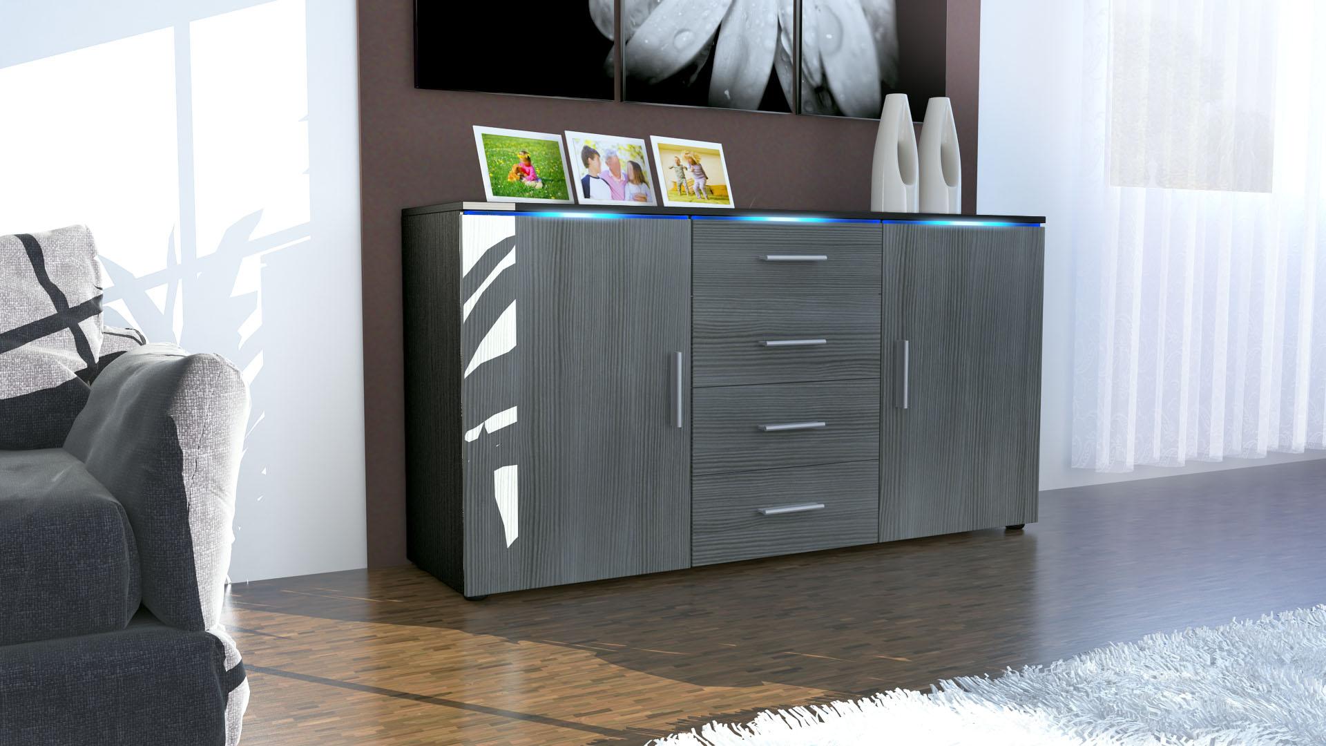 sideboard kommode anrichte highboard faro in schwarz hochglanz naturt ne. Black Bedroom Furniture Sets. Home Design Ideas
