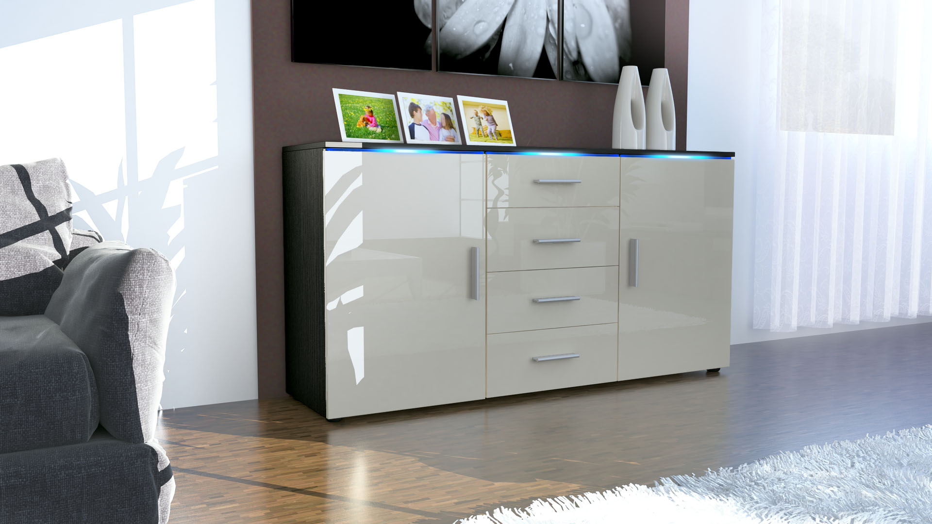 sideboard kommode anrichte highboard faro in schwarz. Black Bedroom Furniture Sets. Home Design Ideas