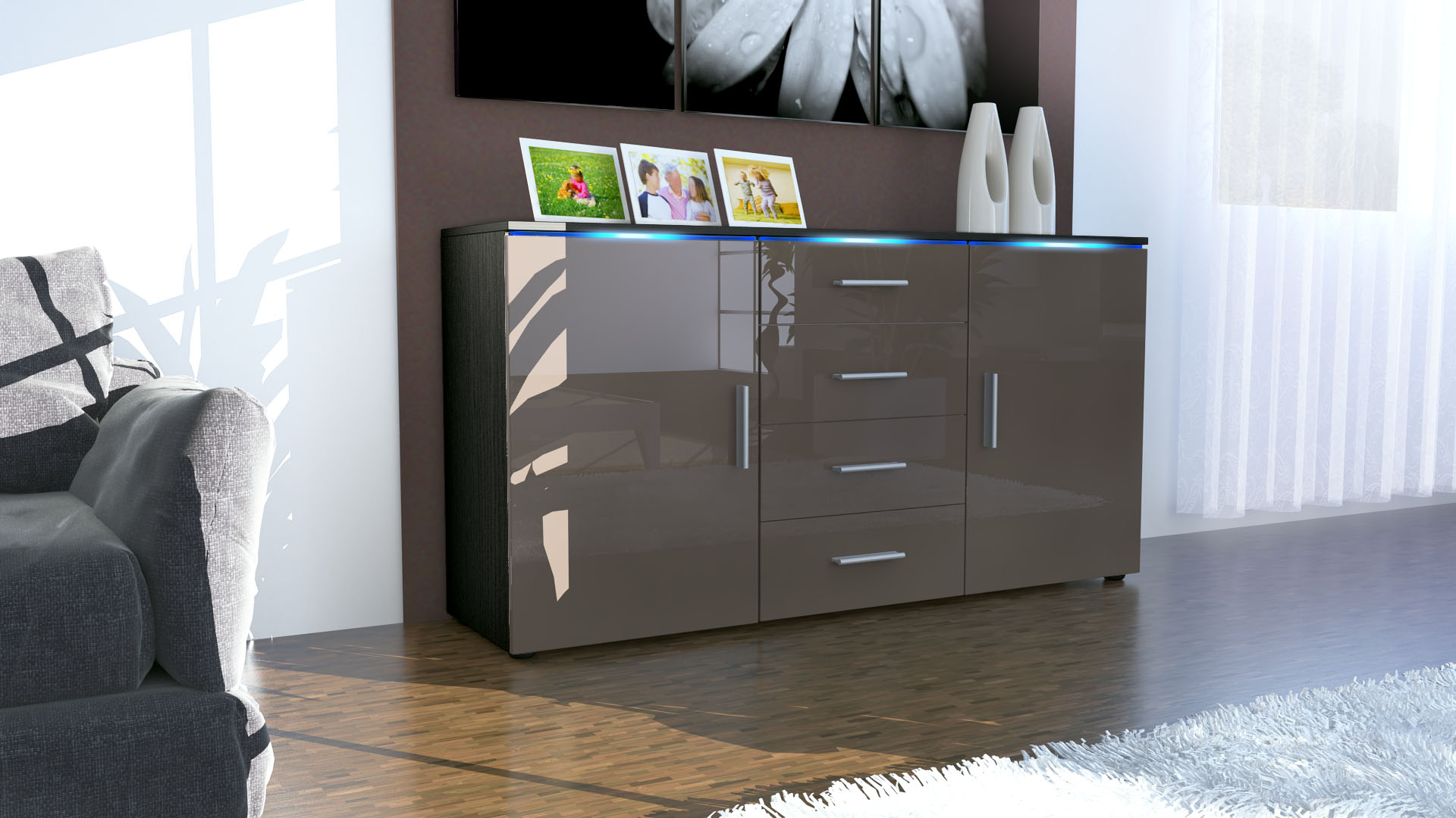 sideboard kommode anrichte highboard faro in schwarz hochglanz naturt ne ebay. Black Bedroom Furniture Sets. Home Design Ideas