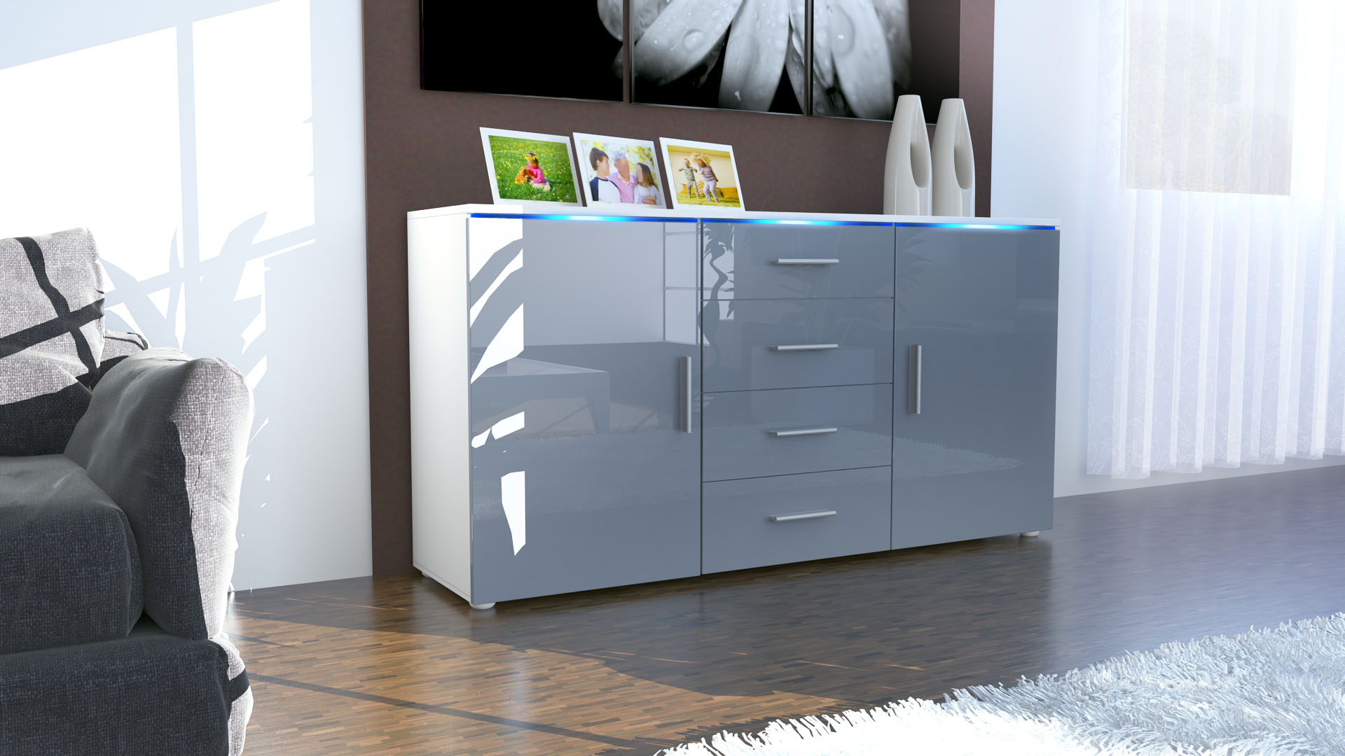 sideboard cabinet chest of drawers faro white high gloss natural tones ebay. Black Bedroom Furniture Sets. Home Design Ideas