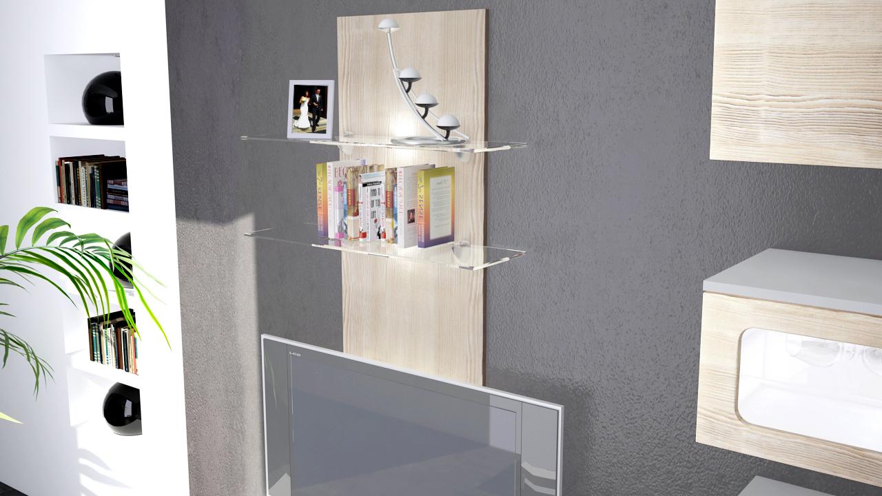 wandpaneel h ngeregal wandboard wandregal regal faro hochglanz naturfarben ebay. Black Bedroom Furniture Sets. Home Design Ideas