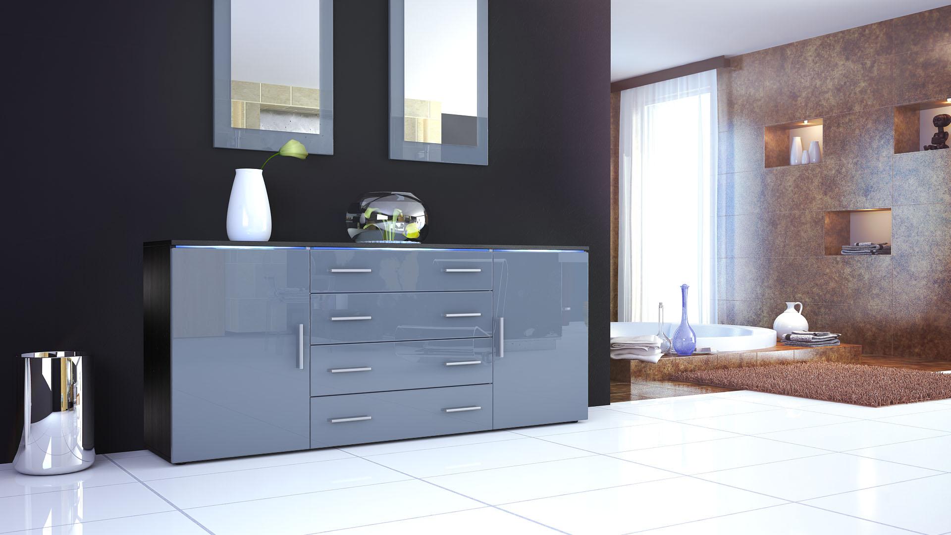sideboard kommode tv board anrichte faro v2 in schwarz hochglanz naturt ne ebay. Black Bedroom Furniture Sets. Home Design Ideas