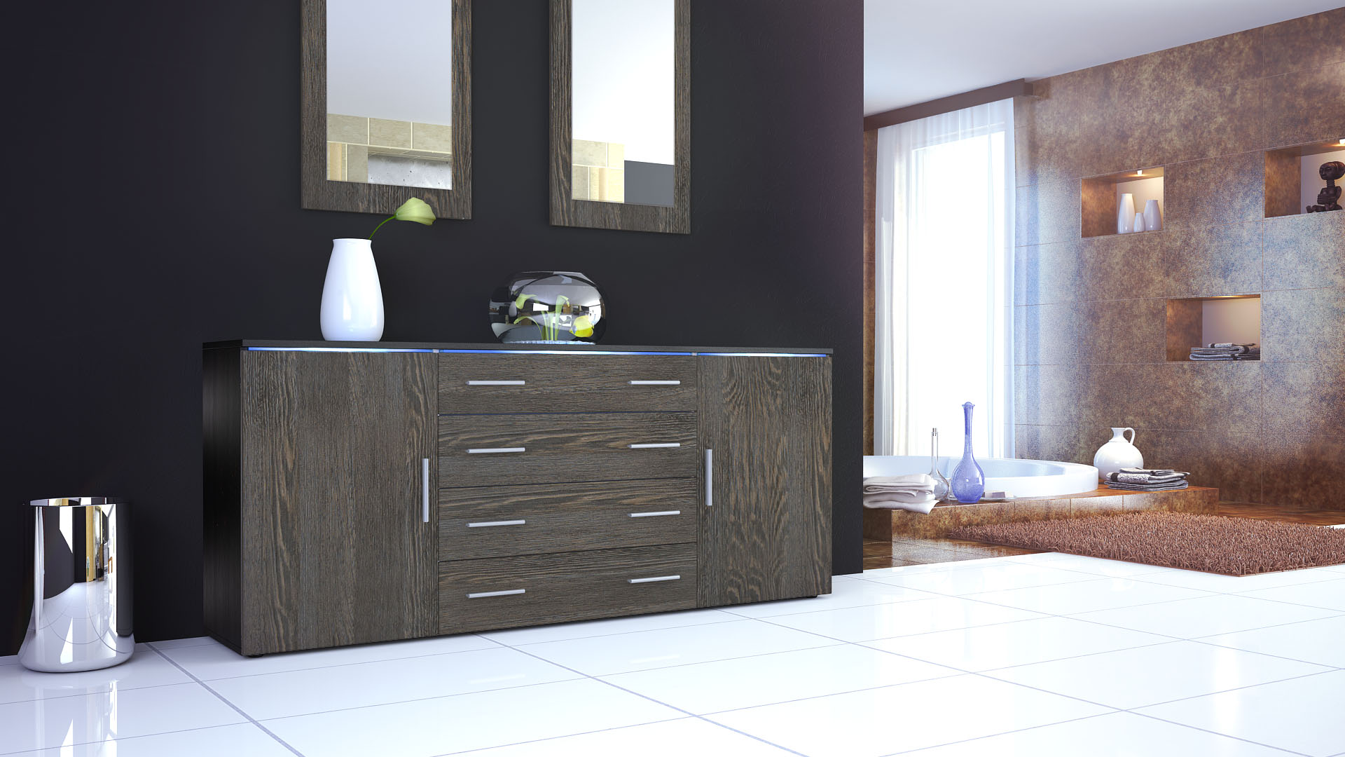 sideboard kommode tv board anrichte faro v2 in schwarz. Black Bedroom Furniture Sets. Home Design Ideas