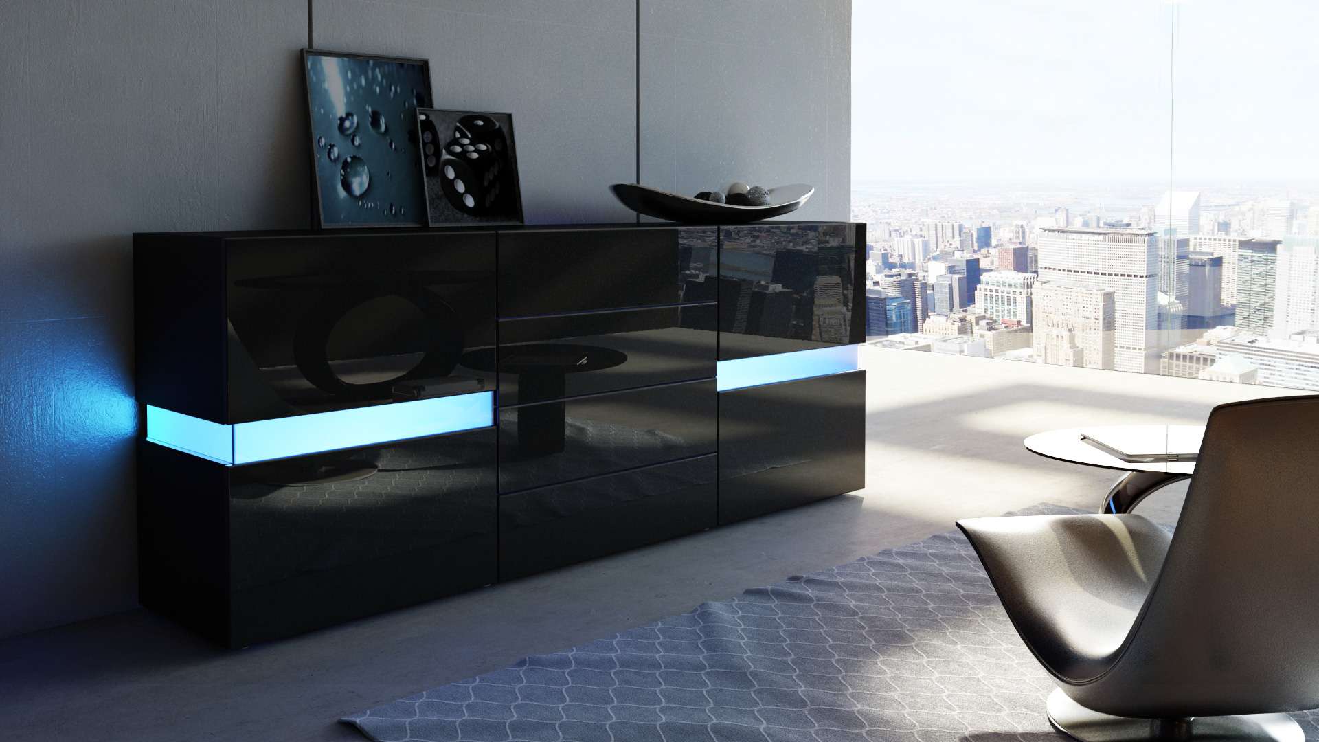 sideboard highboard kommode flow in wei oder schwarz hochglanz ambient light ebay. Black Bedroom Furniture Sets. Home Design Ideas