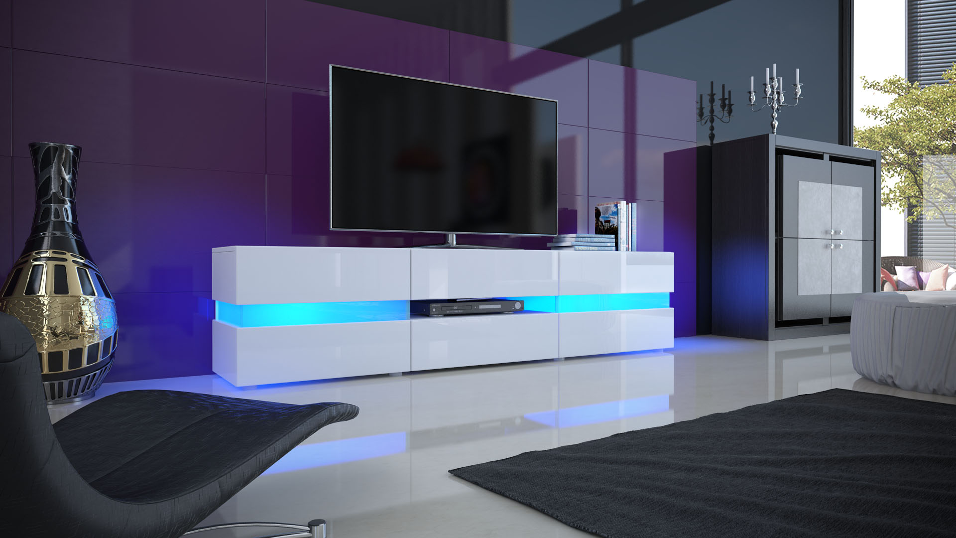 TV Cabinet Stand Board Unit Lowboard Rack Flow in White or Black High Gloss  -> Meuble Tv À Led Avec Baffle