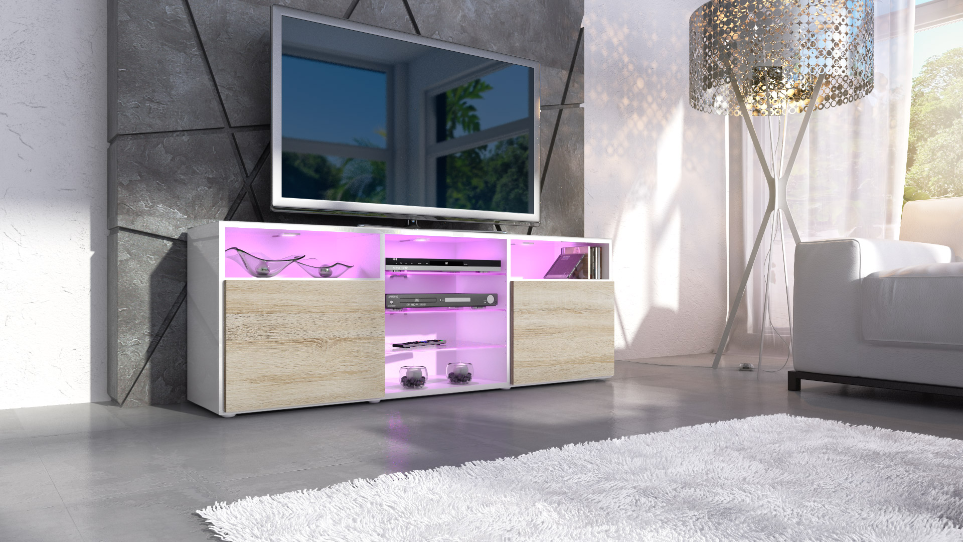 tv lowboard board schrank m bel regal granada in wei hochglanz naturt ne ebay. Black Bedroom Furniture Sets. Home Design Ideas