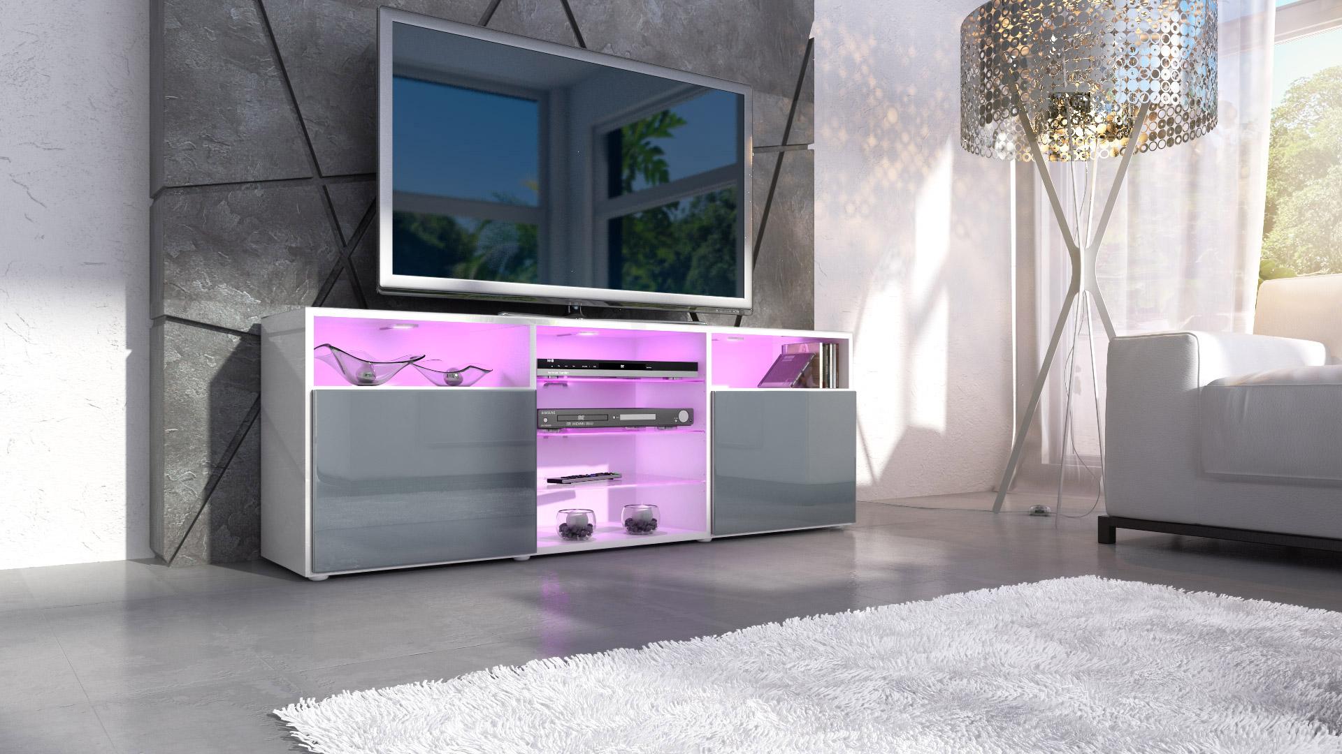 tv lowboard board schrank m bel regal granada in wei. Black Bedroom Furniture Sets. Home Design Ideas