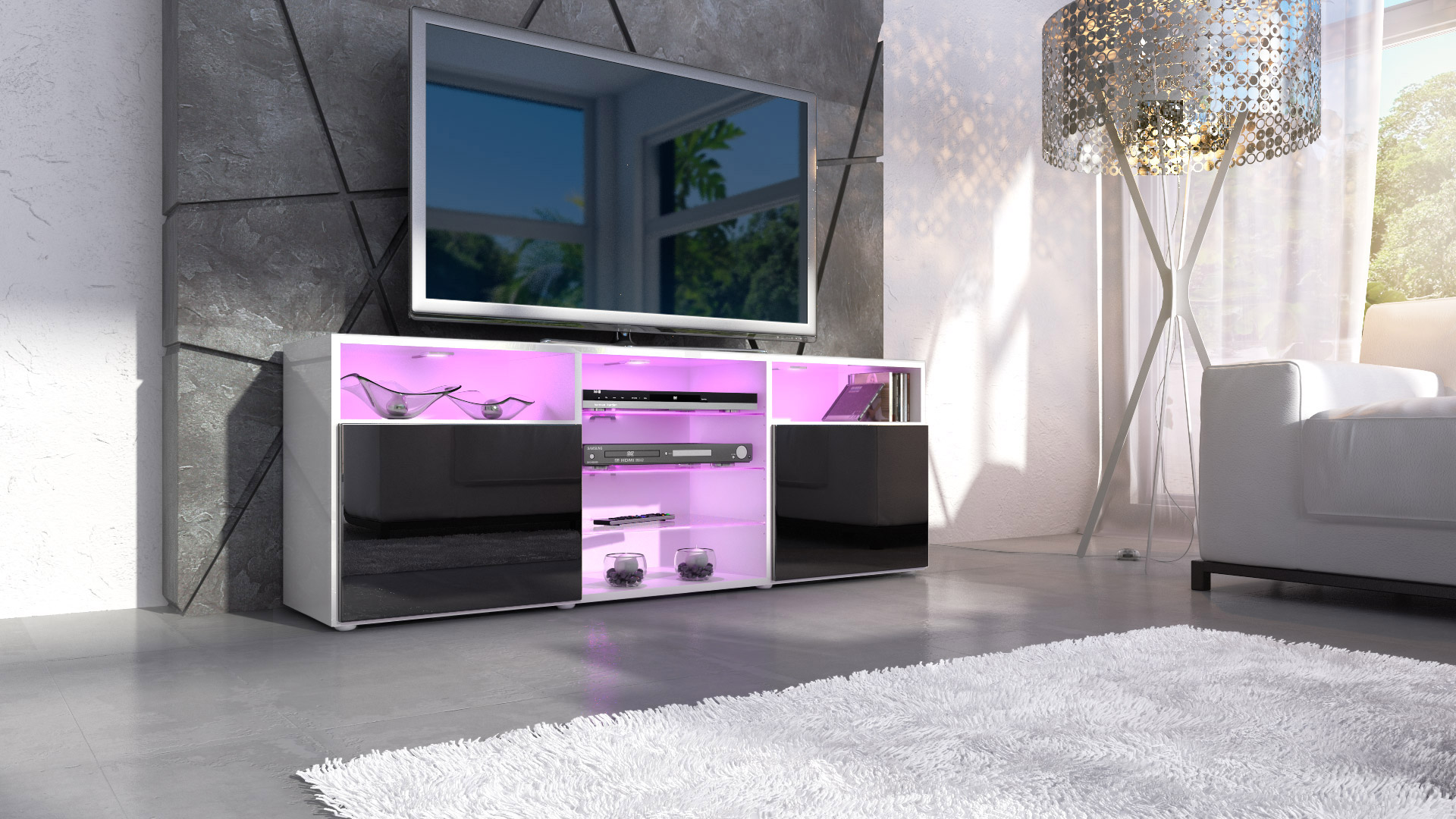 tv lowboard board schrank m bel regal granada in wei hochglanz naturt ne ebay. Black Bedroom Furniture Sets. Home Design Ideas