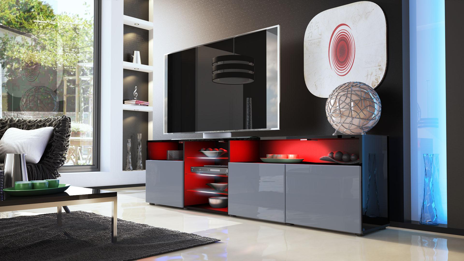 tv lowboard board schrank m bel granada v2 in schwarz hochglanz naturt ne ebay. Black Bedroom Furniture Sets. Home Design Ideas