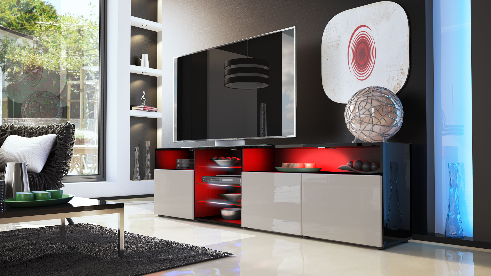 tv lowboard board schrank m bel granada v2 in schwarz. Black Bedroom Furniture Sets. Home Design Ideas