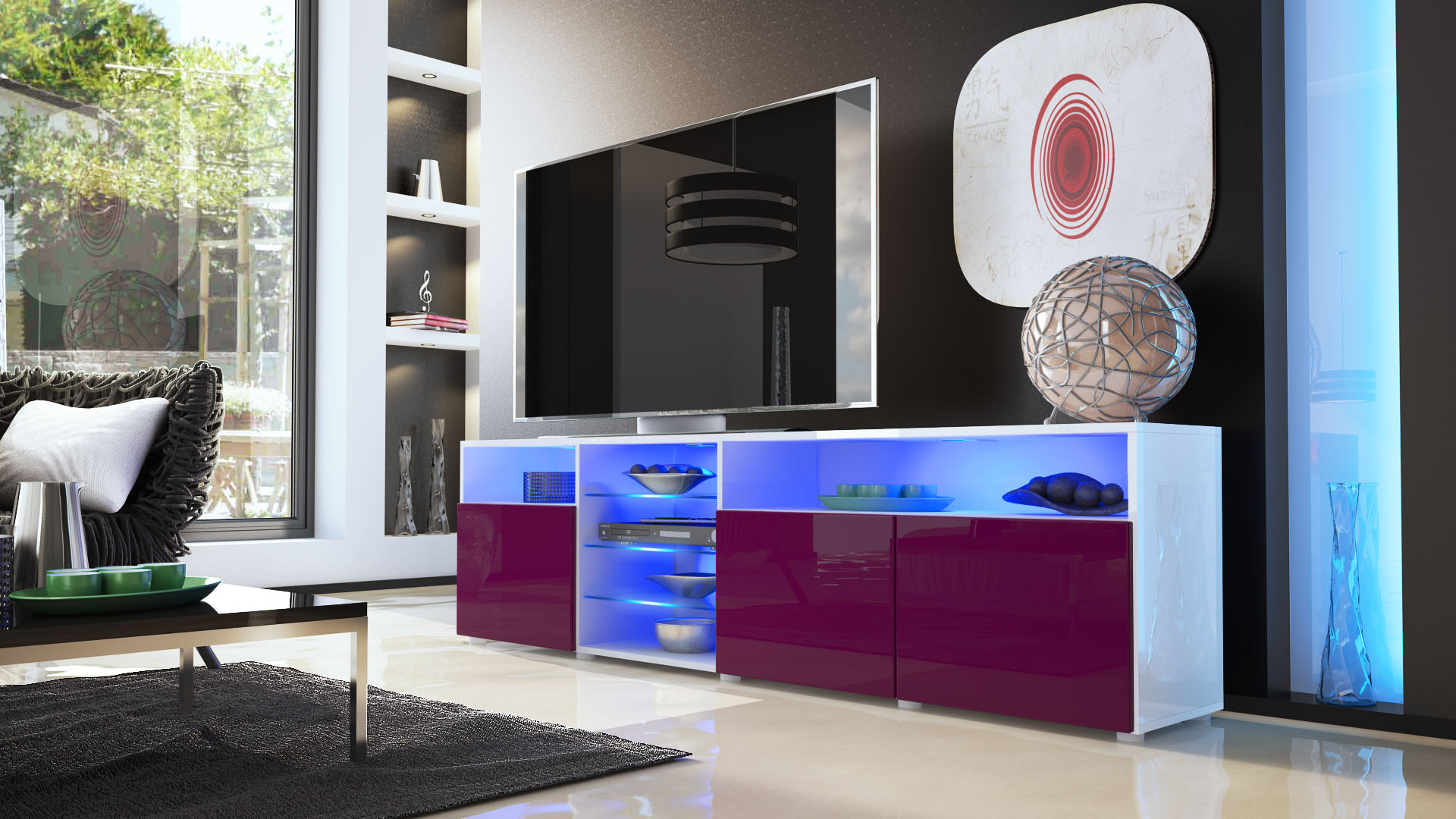 tv lowboard board schrank m bel regal granada v2 in wei hochglanz naturt ne ebay. Black Bedroom Furniture Sets. Home Design Ideas