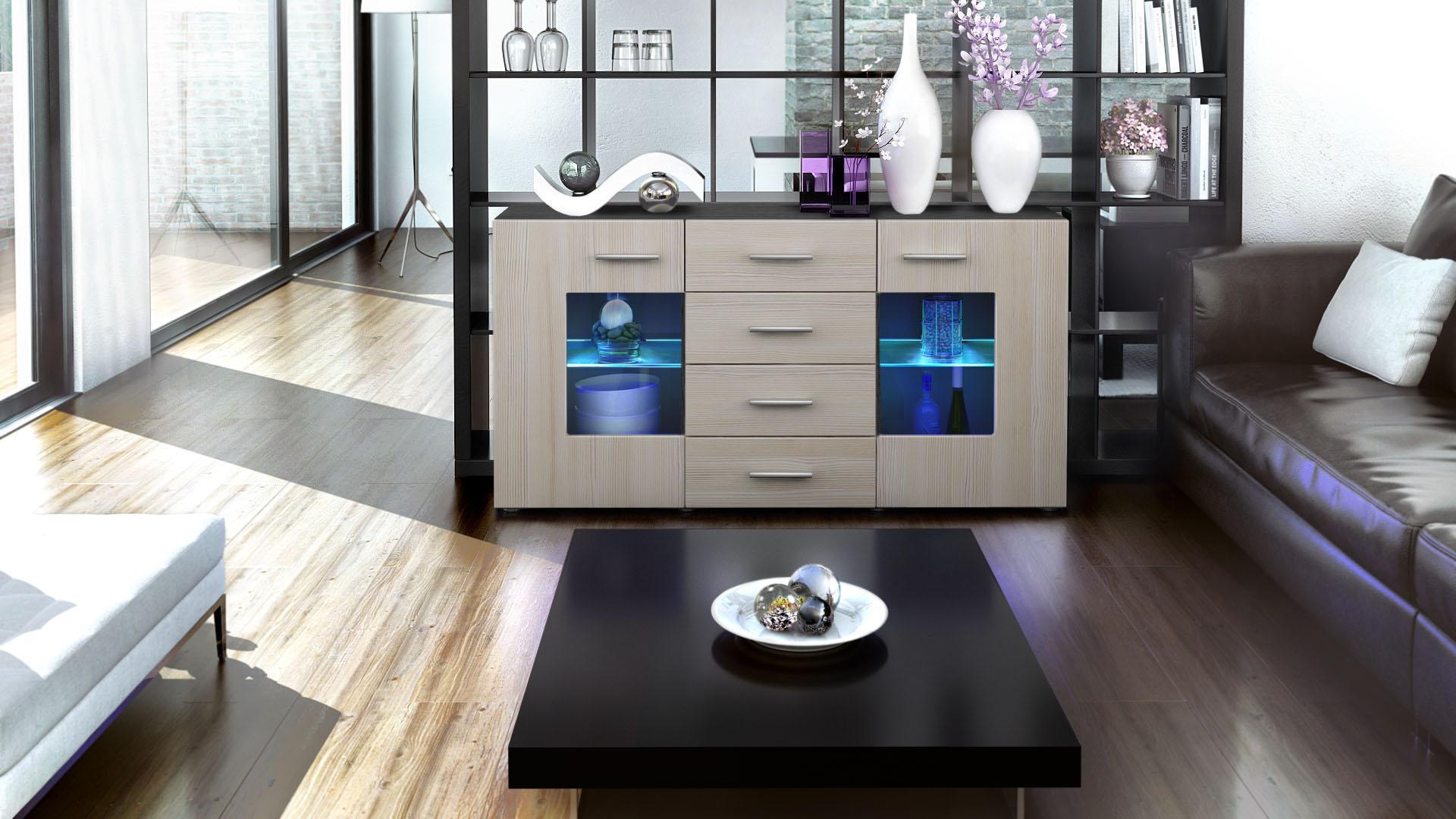 sideboard tv board anrichte kommode gr mitz in schwarz. Black Bedroom Furniture Sets. Home Design Ideas