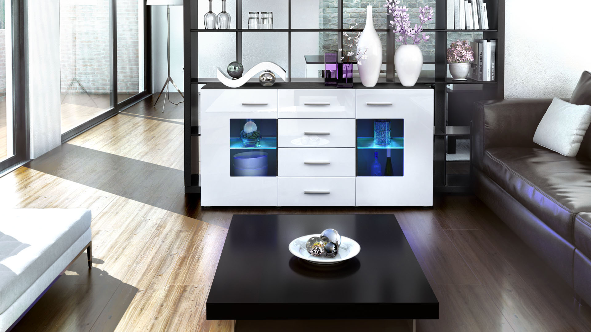 sideboard tv board anrichte kommode gr mitz in schwarz hochglanz naturt ne ebay. Black Bedroom Furniture Sets. Home Design Ideas