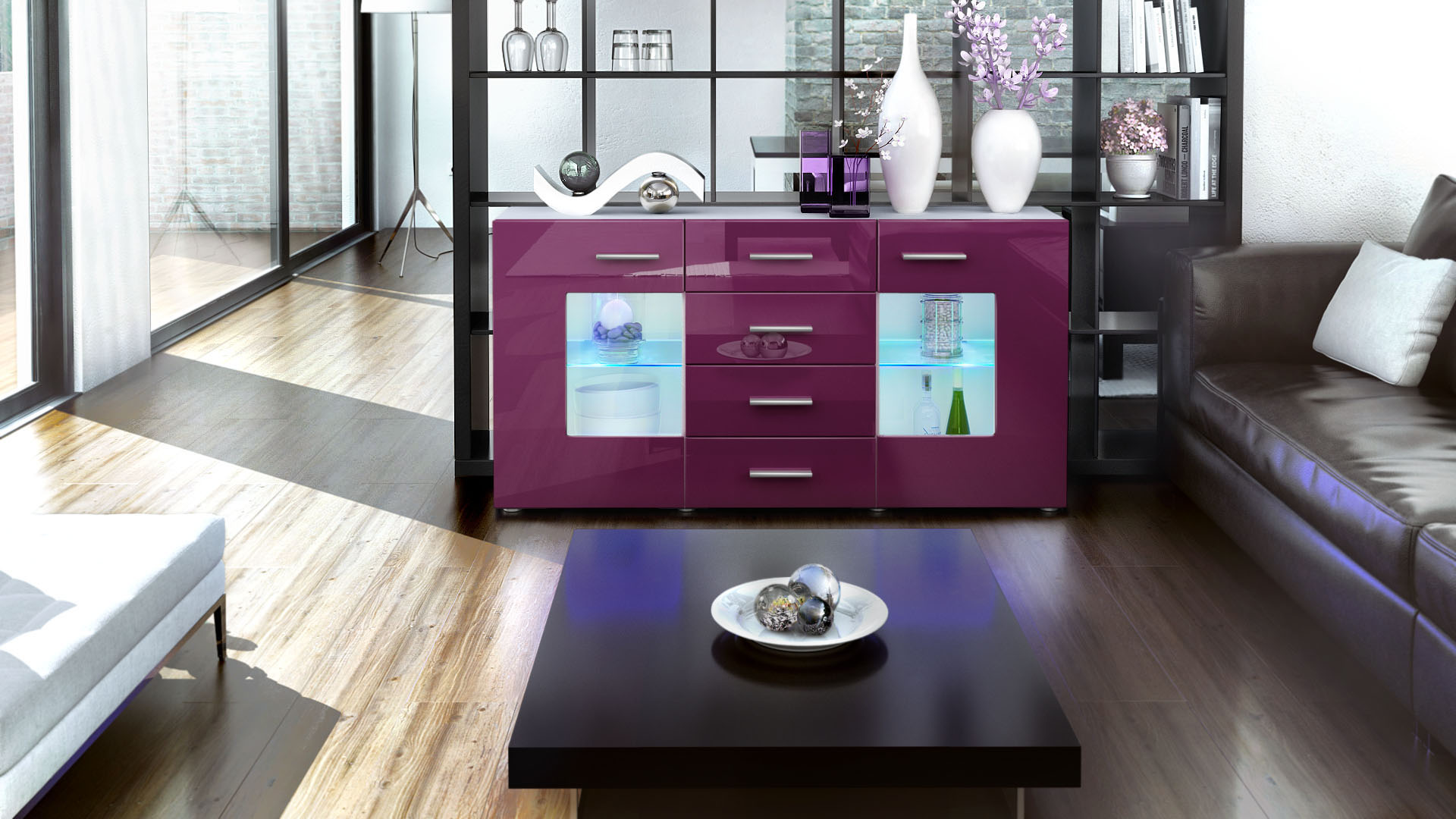 sideboard tv board anrichte kommode gr mitz in wei hochglanz naturt ne ebay. Black Bedroom Furniture Sets. Home Design Ideas