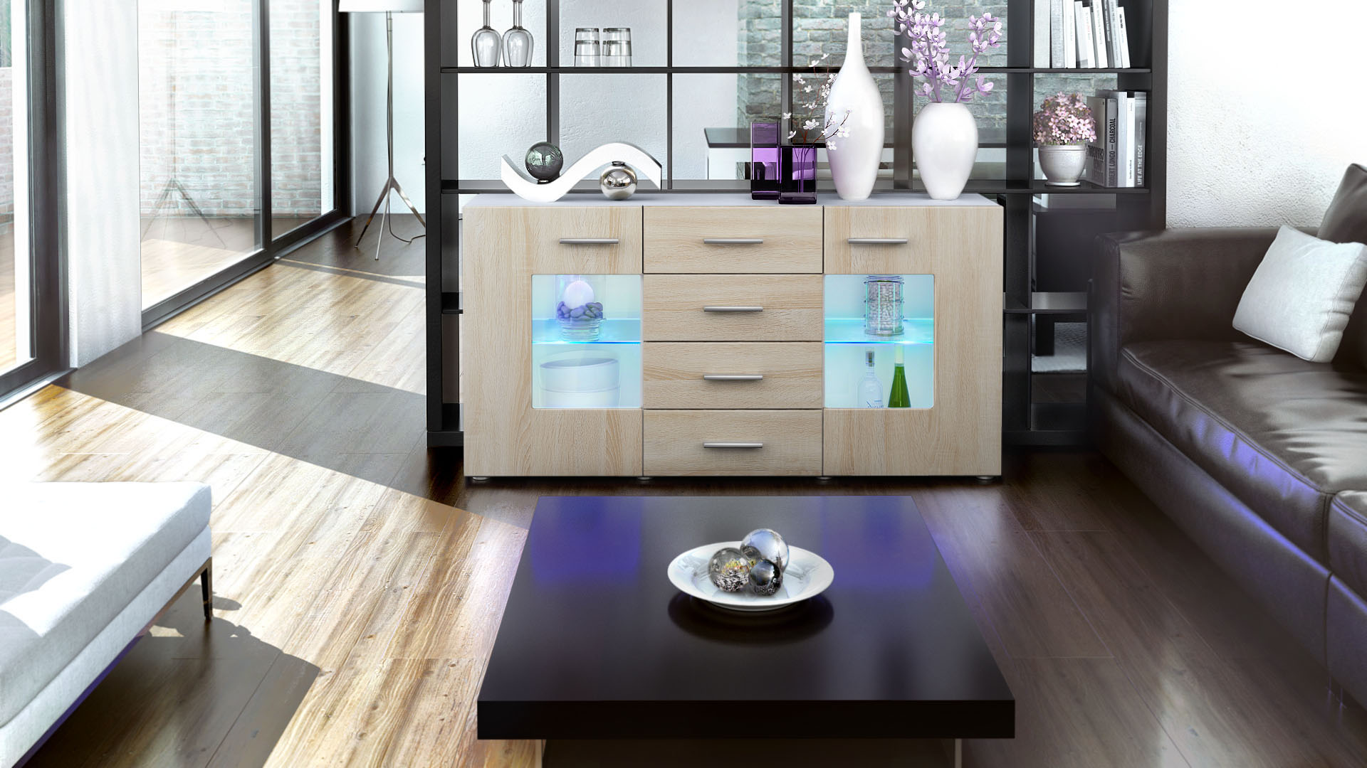 sideboard tv board anrichte kommode gr mitz in wei hochglanz naturt ne. Black Bedroom Furniture Sets. Home Design Ideas