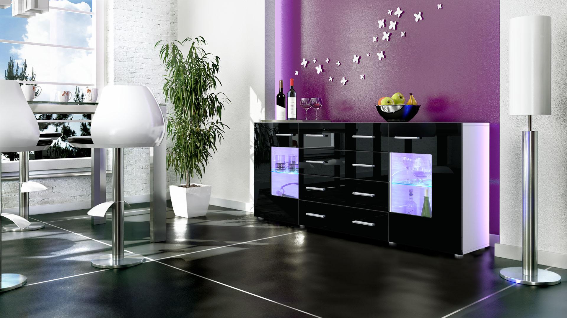 sideboard chest of drawers cabinet gr mitz v2 white high. Black Bedroom Furniture Sets. Home Design Ideas