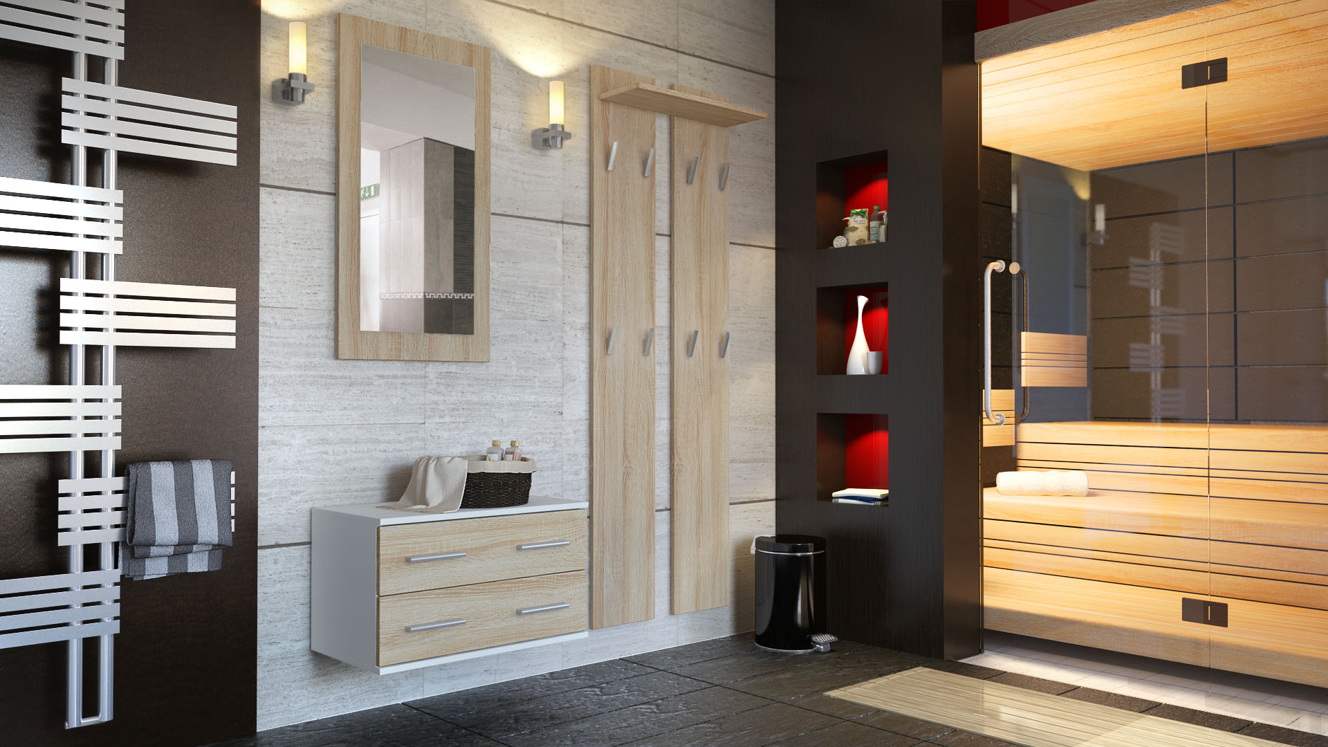 garderobenset flur garderobe diele kioto in wei hochglanz naturt ne ebay. Black Bedroom Furniture Sets. Home Design Ideas