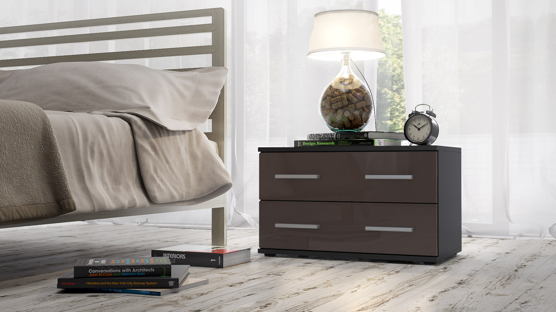 bedside table cabinet chest of drawers kioto black high. Black Bedroom Furniture Sets. Home Design Ideas