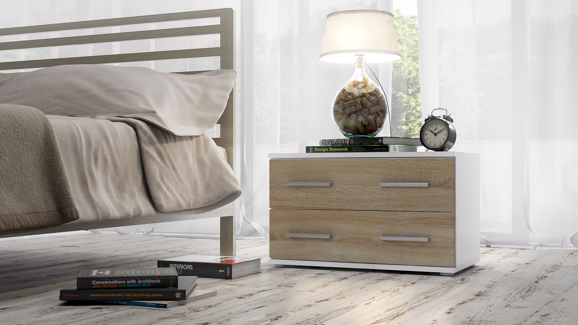 nachtkonsole nacht tisch kommode schrank kioto in wei. Black Bedroom Furniture Sets. Home Design Ideas