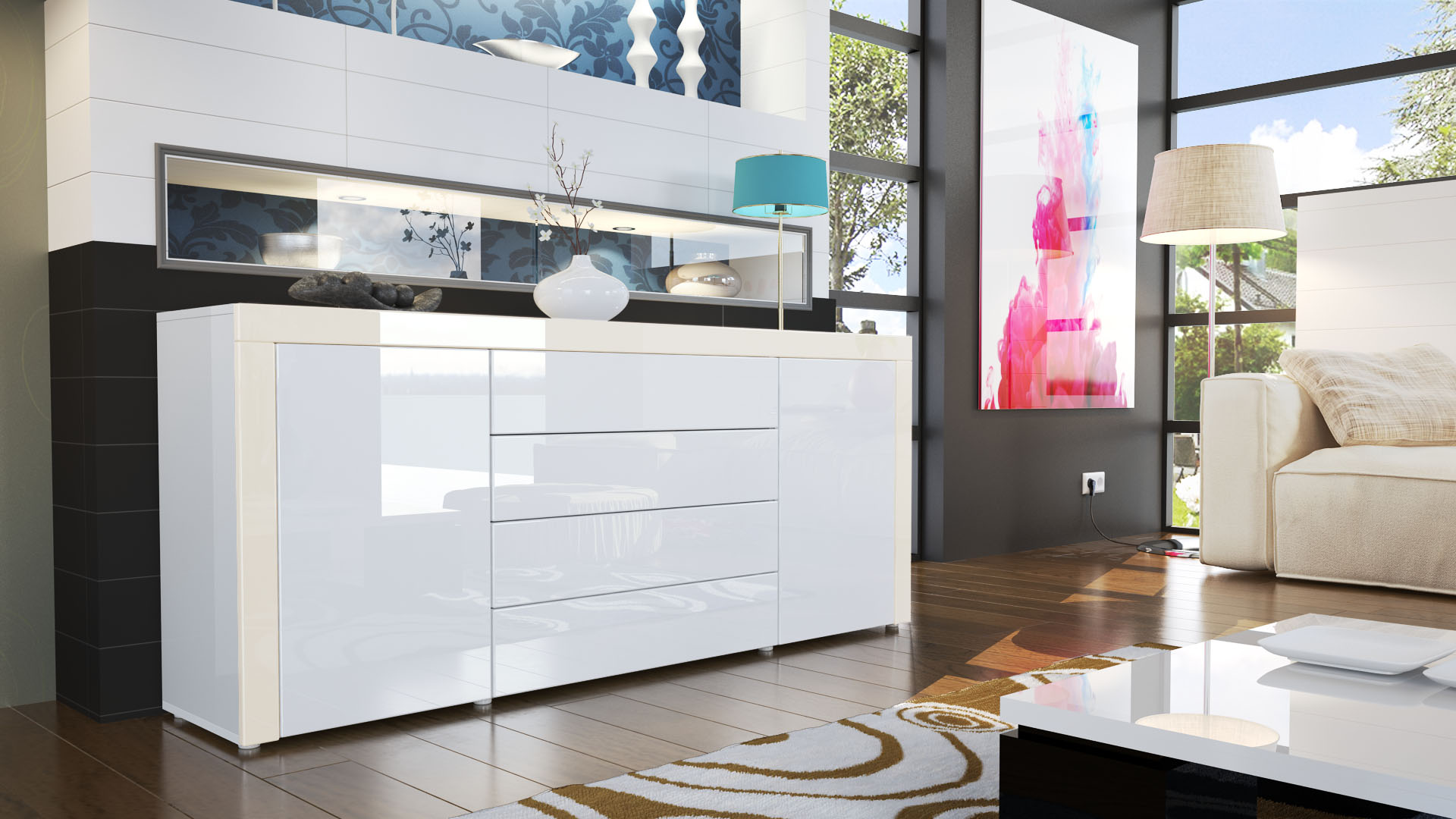 sideboard cabinet chest of drawers la paz in white high. Black Bedroom Furniture Sets. Home Design Ideas