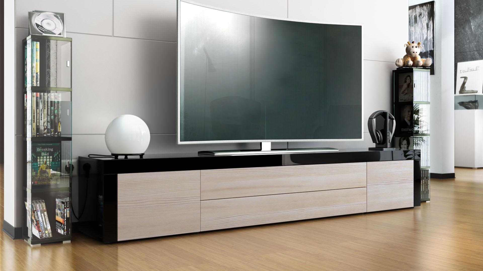 tv stand board unit lowboard cabinet la paz black high. Black Bedroom Furniture Sets. Home Design Ideas