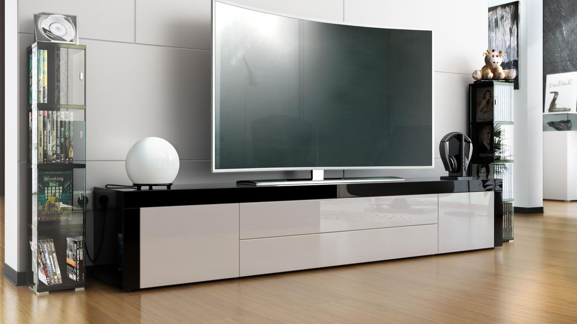 tv board schwarz interesting tvlowboard miami hochglanz. Black Bedroom Furniture Sets. Home Design Ideas