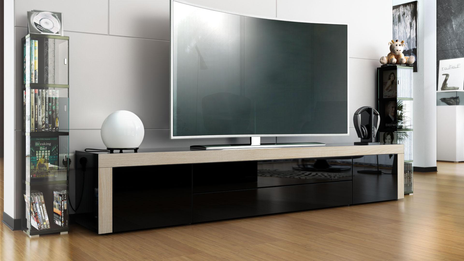 tv stand board unit lowboard cabinet la paz black high gloss natural tones. Black Bedroom Furniture Sets. Home Design Ideas