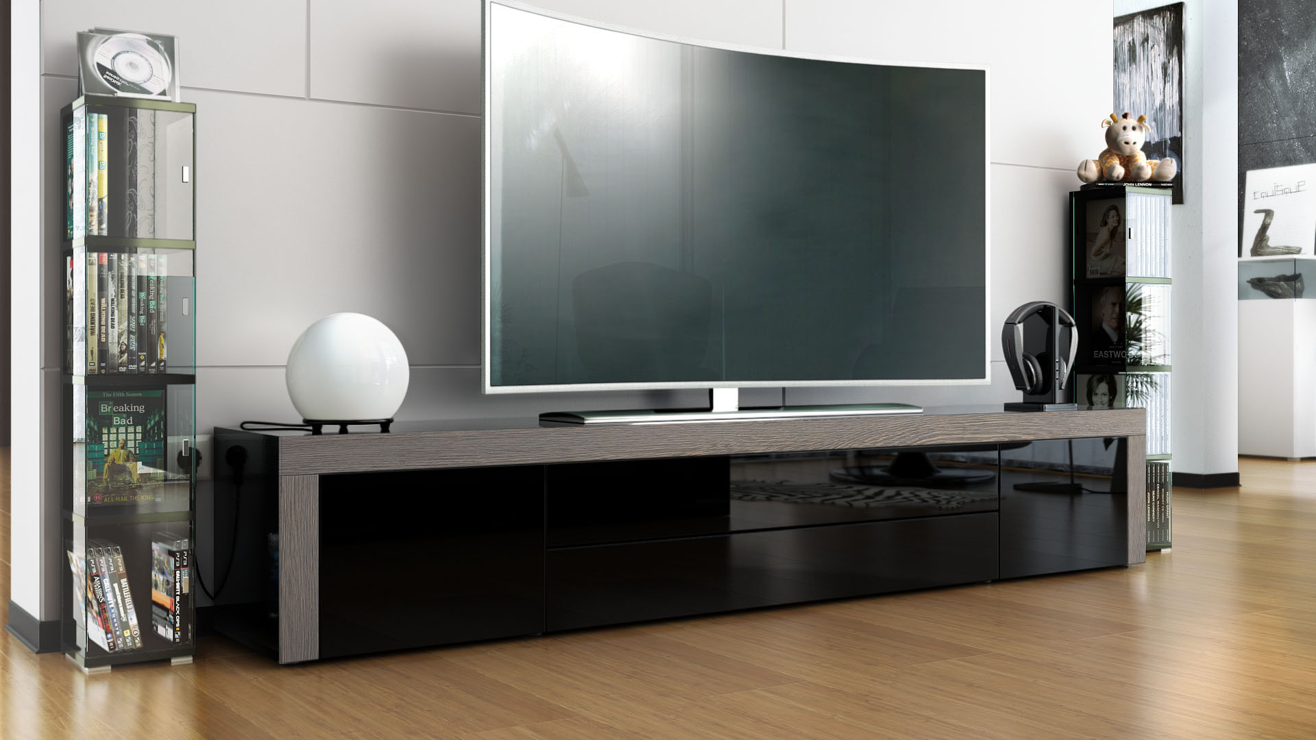 Tv stand board unit lowboard cabinet la paz black high gloss natural - Meuble tv anthracite ...