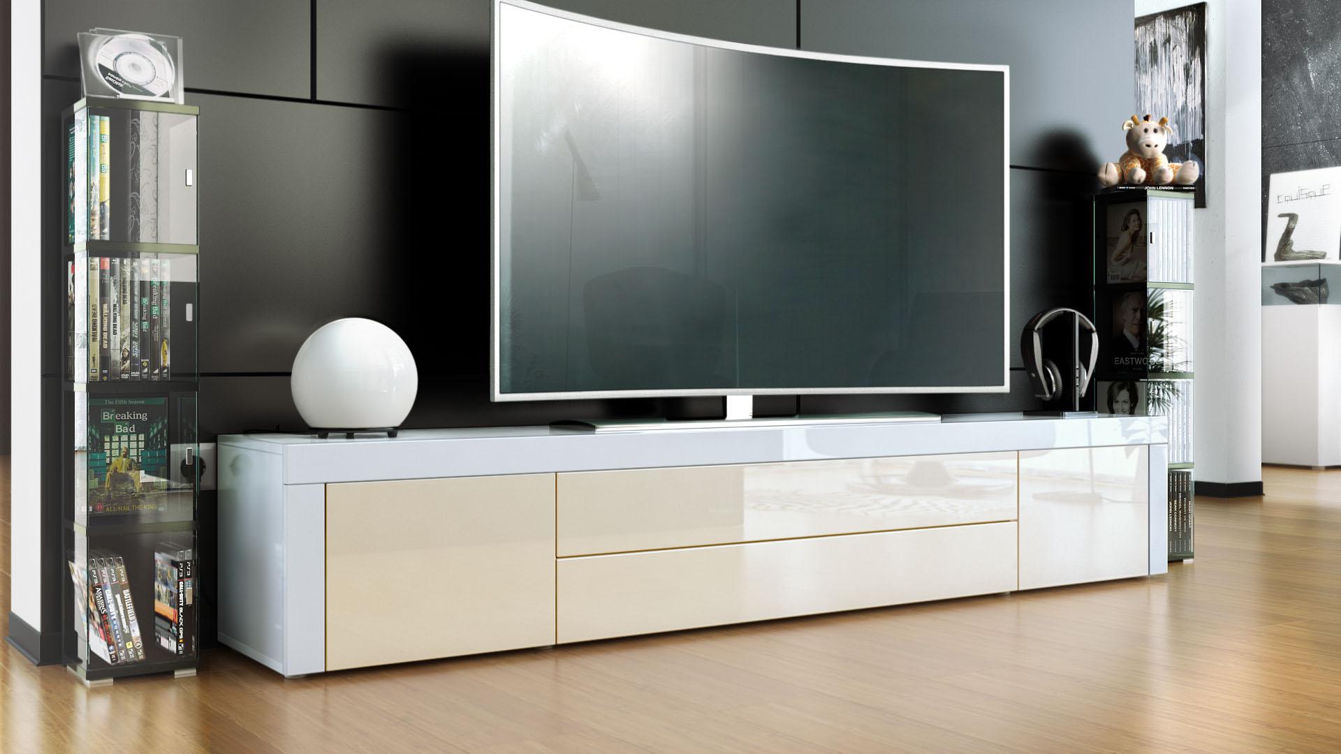 tv stand board unit lowboard cabinet la paz white high. Black Bedroom Furniture Sets. Home Design Ideas