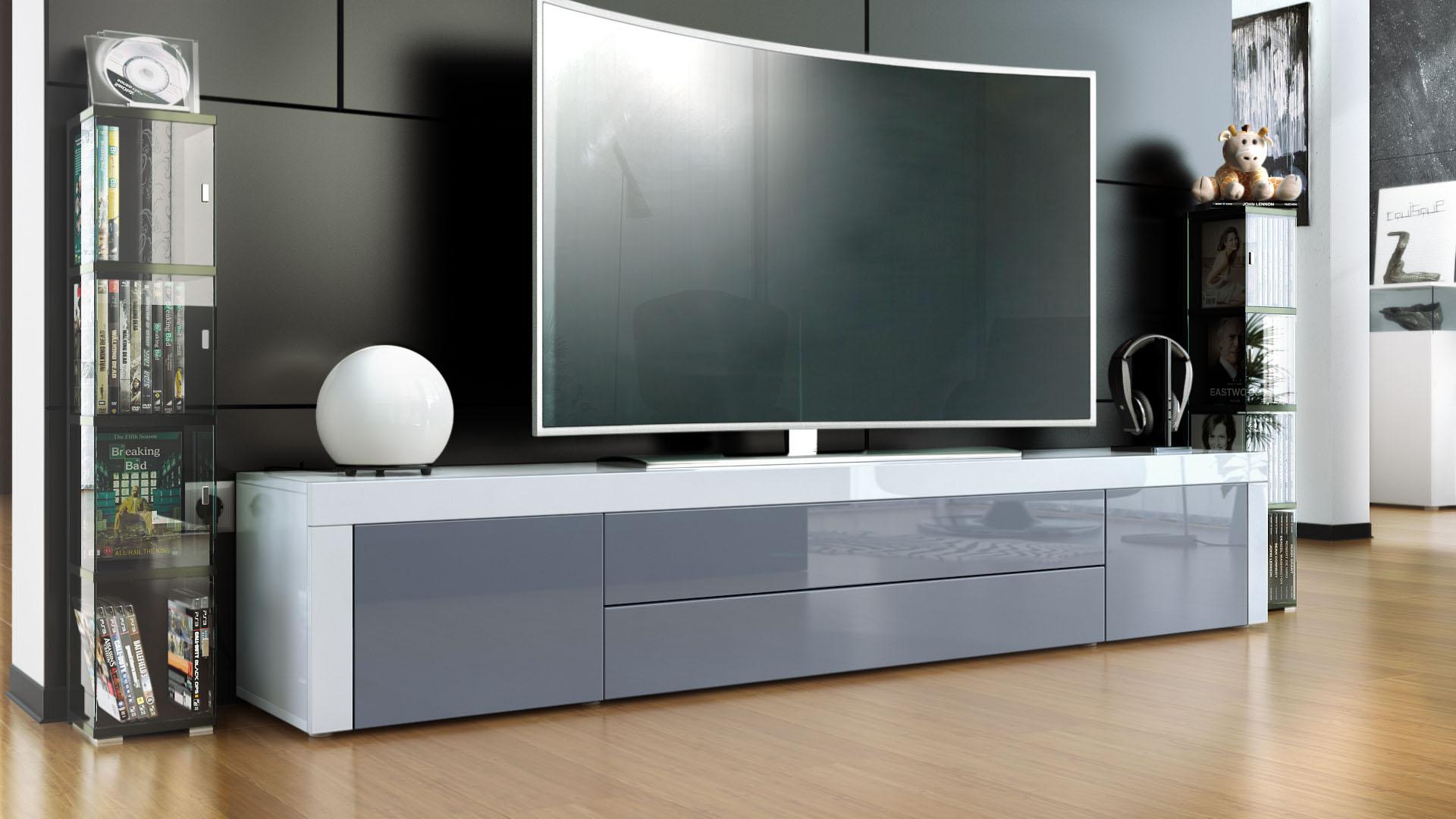 tv lowboard board schrank tisch m bel la paz in wei. Black Bedroom Furniture Sets. Home Design Ideas