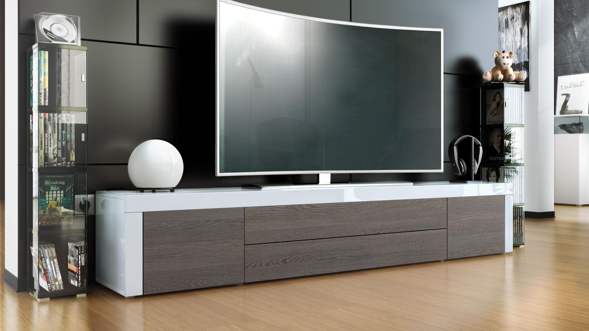 TV Lowboard Board Schrank Tisch Möbel La Paz in Weiß  -> Lowboard Wenge Weiß