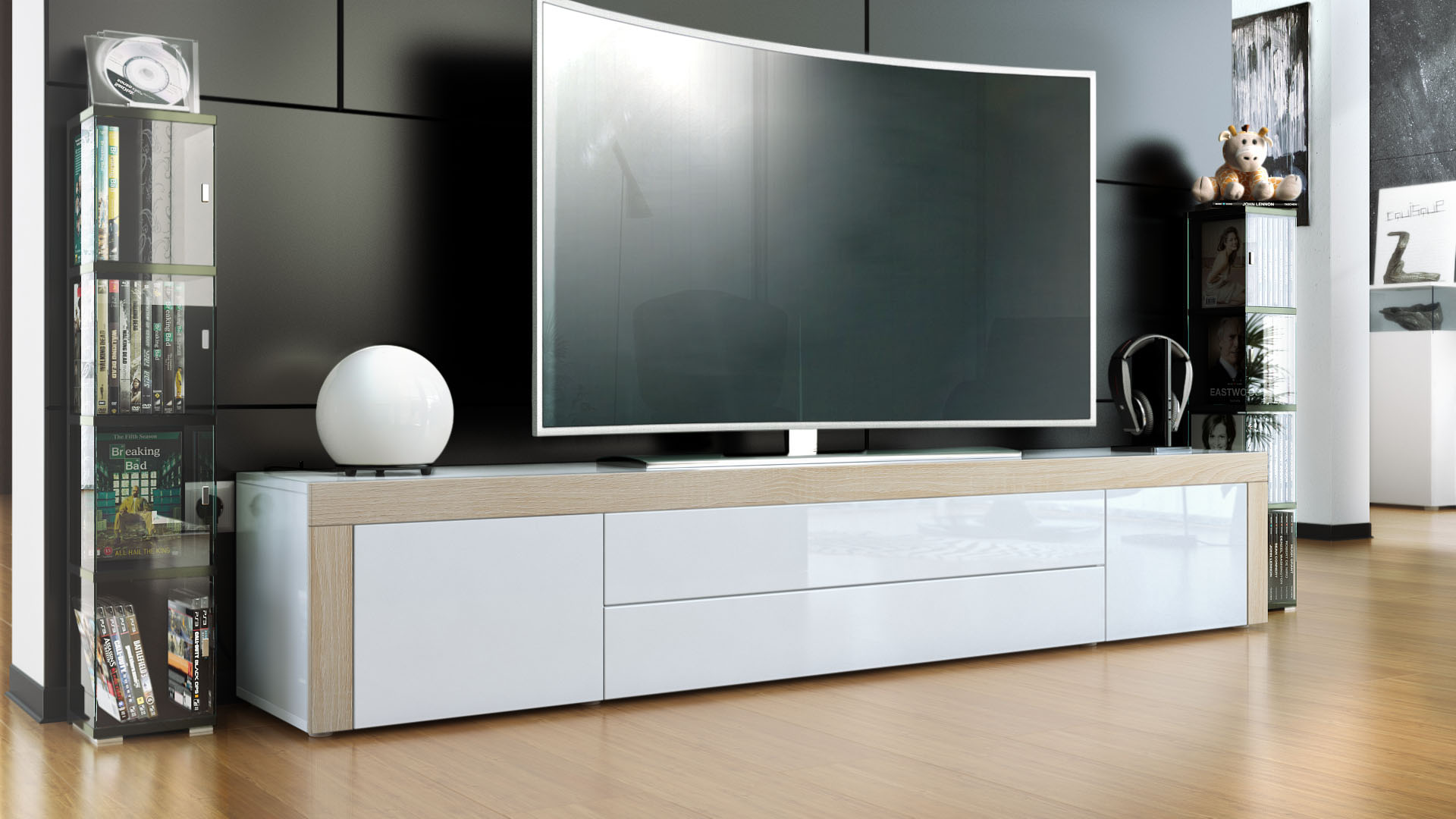 tv schrank wei hochglanz 120. Black Bedroom Furniture Sets. Home Design Ideas