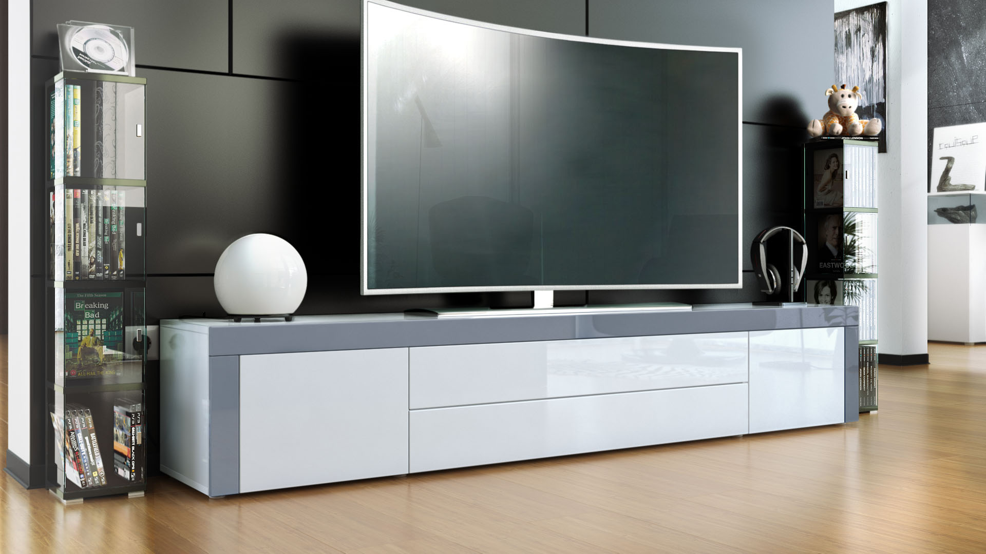 tv stand board unit lowboard cabinet la paz white high gloss natural tones ebay. Black Bedroom Furniture Sets. Home Design Ideas