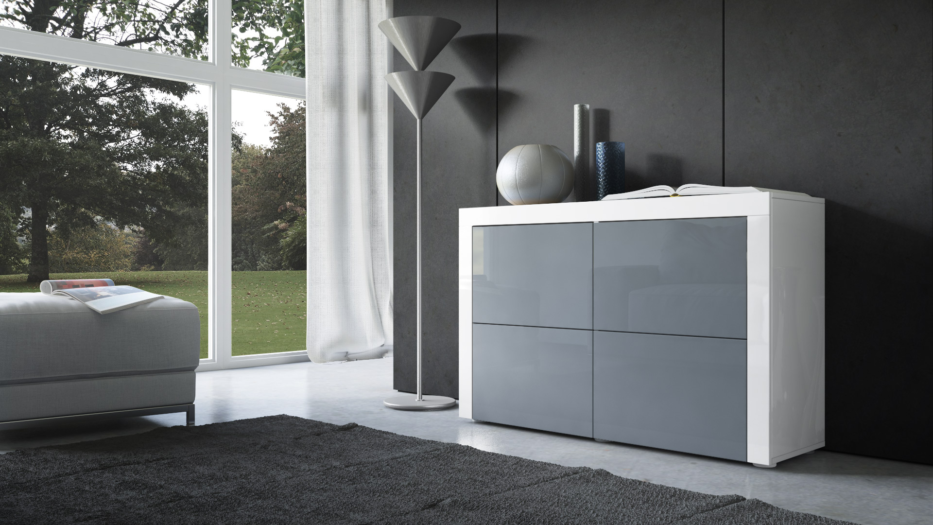 cabinet sideboard cupboard buffet la paz v2 white high. Black Bedroom Furniture Sets. Home Design Ideas